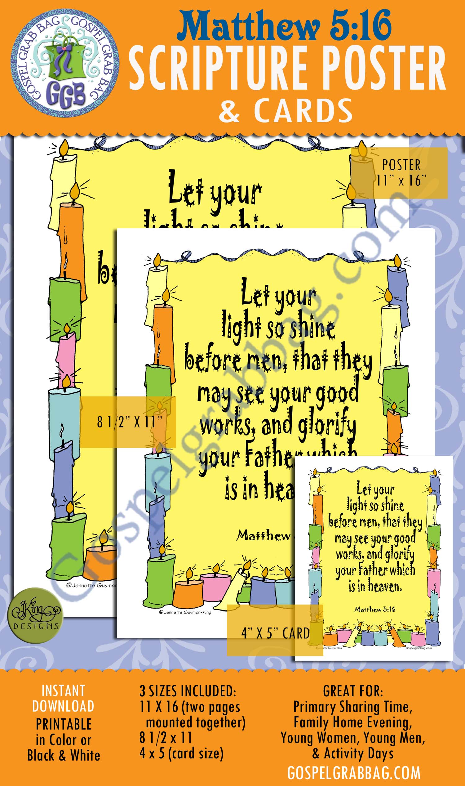 Matthew 5:16 SCRIPTURE POSTER & CARDS, Primary Sharing Time, Come Follow Me, Family Home Evening, example, fellowship, service, commandments, GospelGrabBag.com
