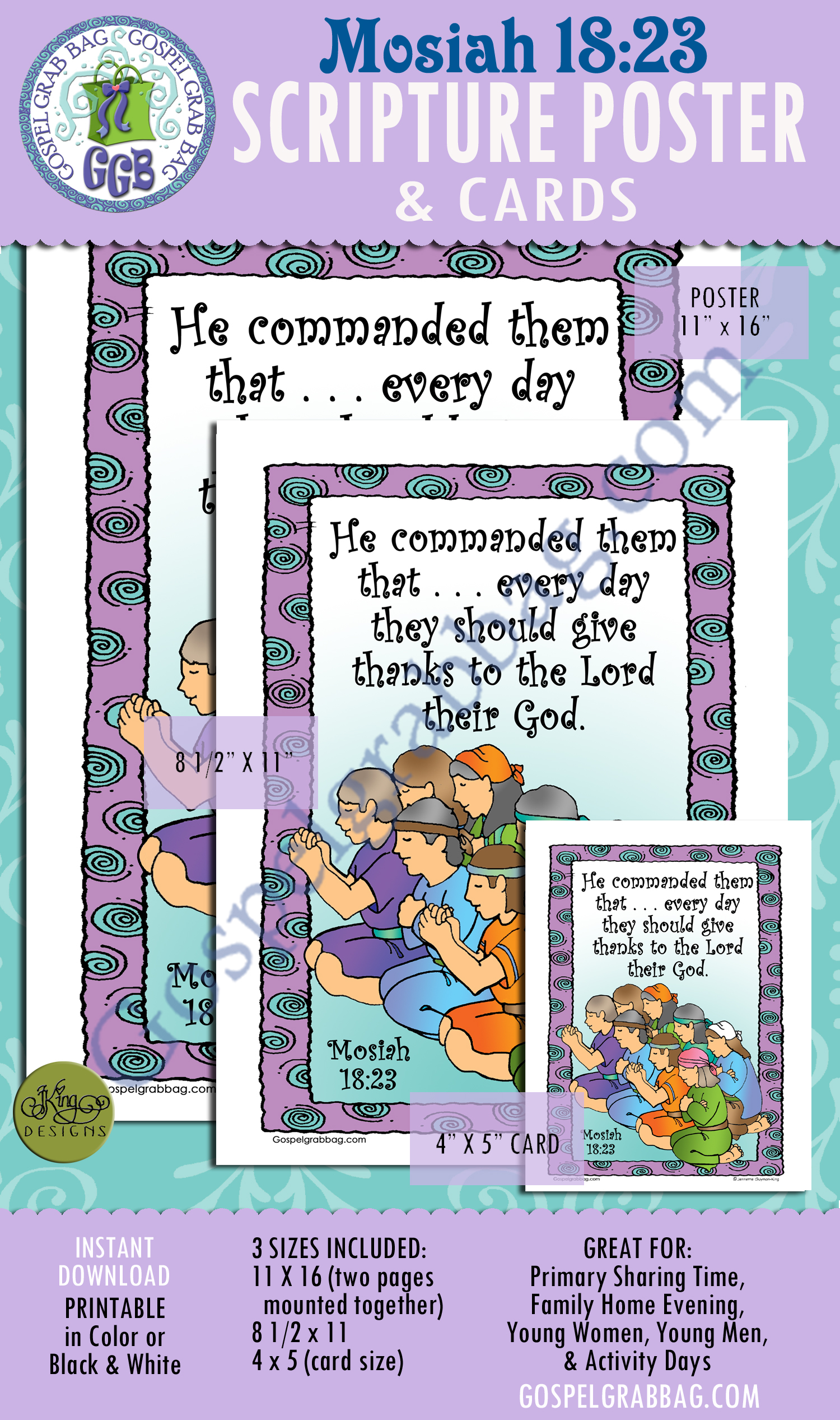 $2.00 Mosiah 18:23 SCRIPTURE POSTER & CARDS, Primary Sharing Time