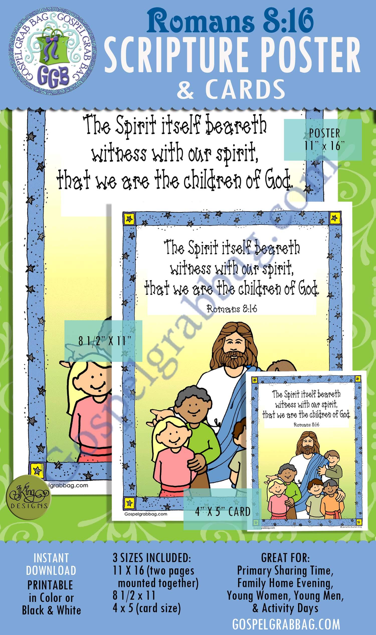 Romans 8:16 SCRIPTURE POSTER & CARDS, Primary Sharing Time, Come Follow Me, Family Home Evening, GospelGrabBag.com