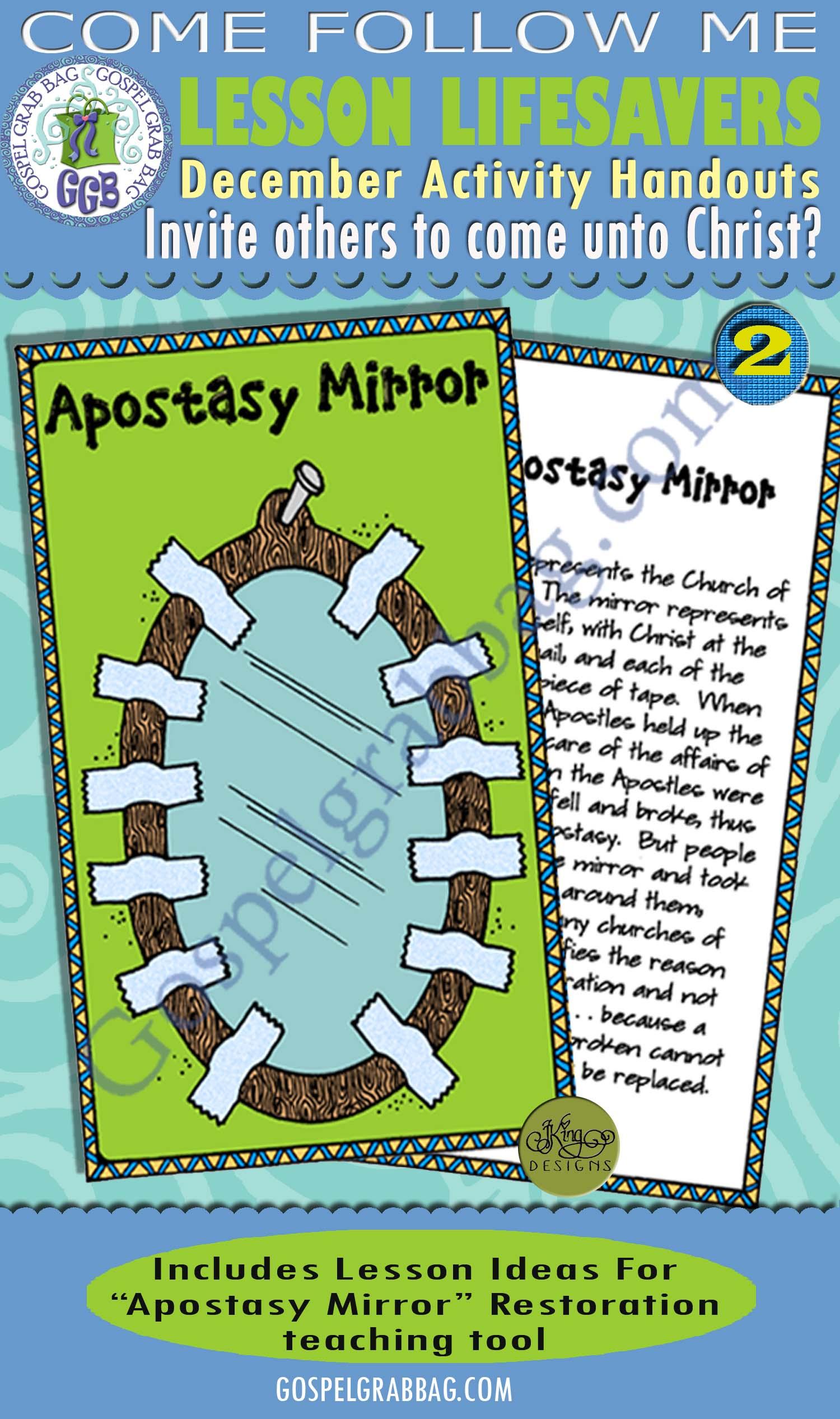 "$1.75 December Lesson 1 - Come Follow Me ""How can I invite others to come unto Christ?"" ACTIVITY: Apostasy Mirror - Restoration teaching tool, GospelGrabBag.com"