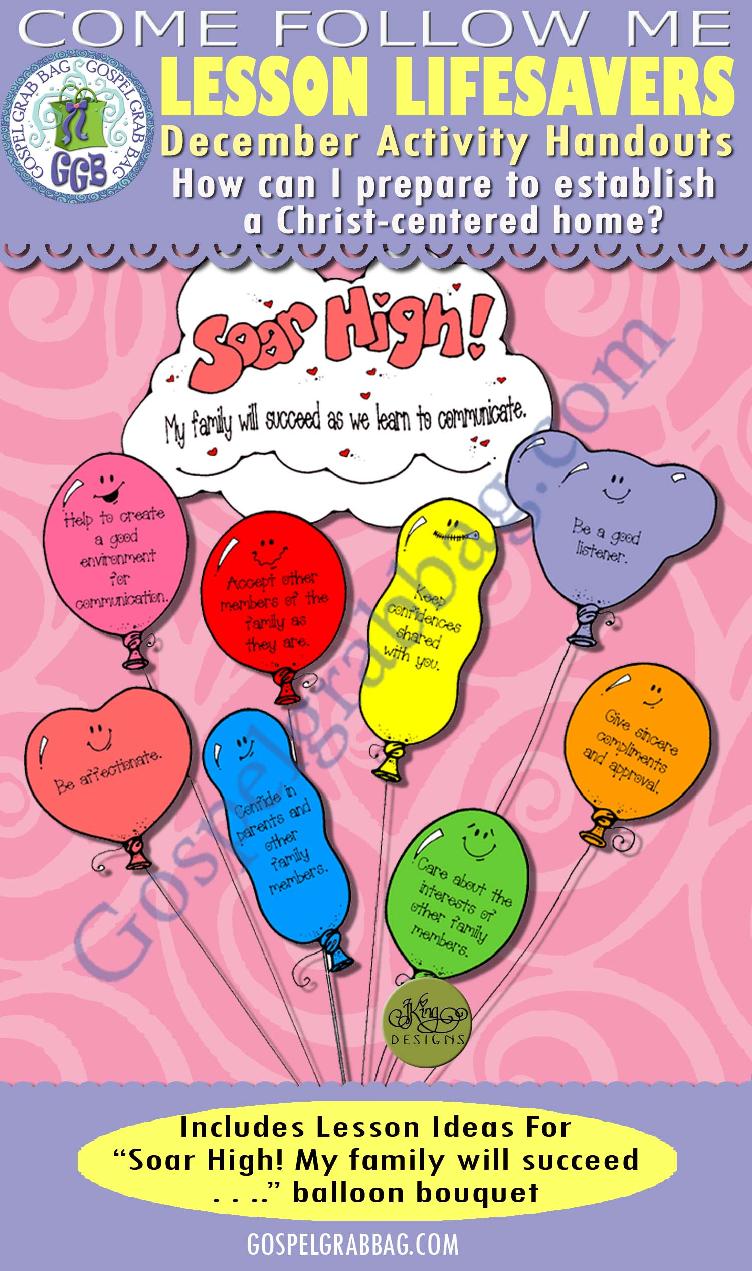 "$1.75 December Lesson 3 - Come Follow Me ""How can I prepare to establish a Christ-centered home?"" ACTIVITY: Communicate with My Family - Soar High! balloon bouquet, GospelGrabBagcom"