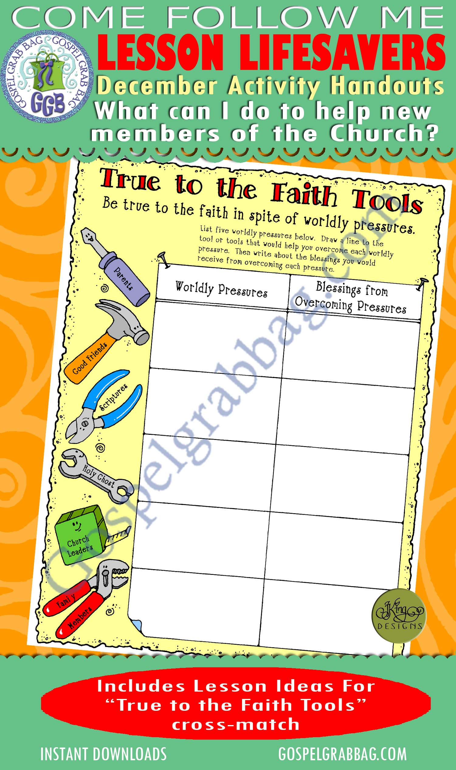 "$1.75 December Lesson 4 - Come Follow Me ""What can I do to help new members of the Church?"" ACTIVITY: True to the Faith cross-match"