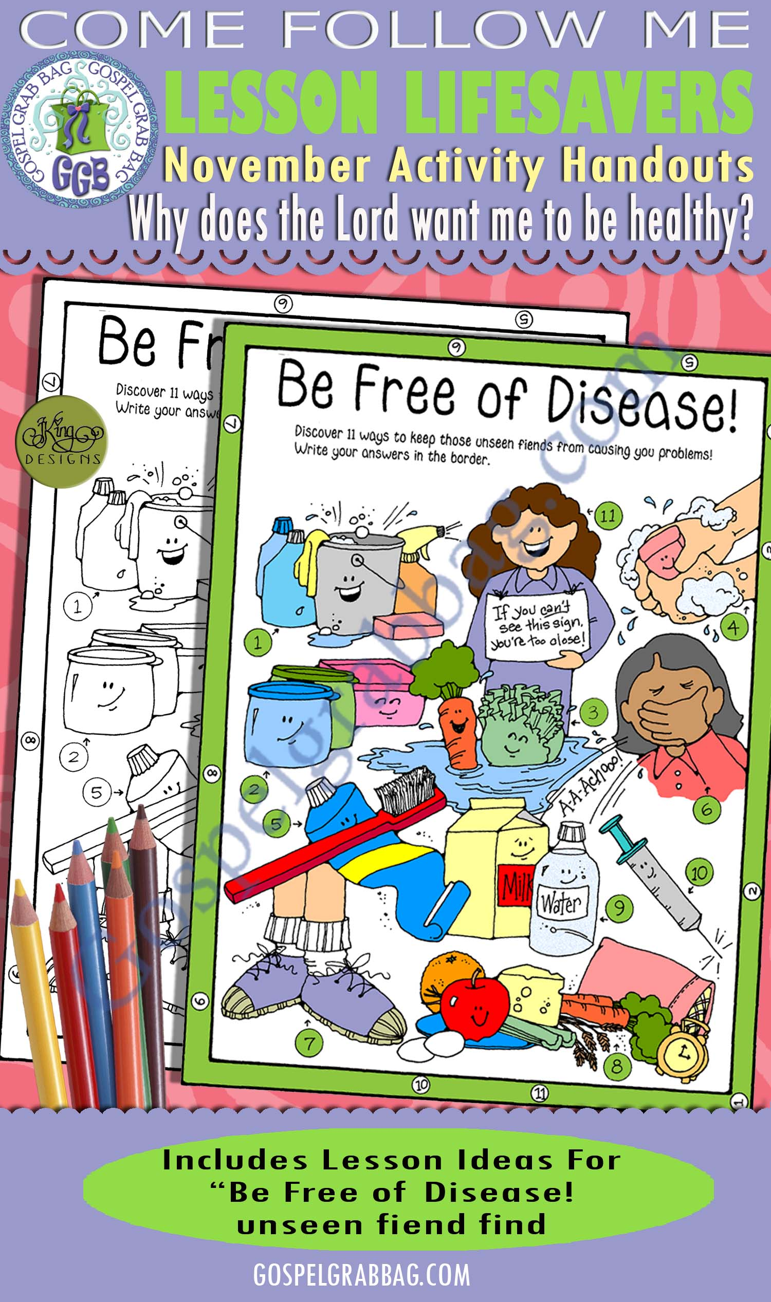 "$1.75 November Lesson 5 - Come Follow Me ""Why does the Lord want me to be healthy?"" ACTIVITY: Free of Disease! unseen fiend find puzzle"