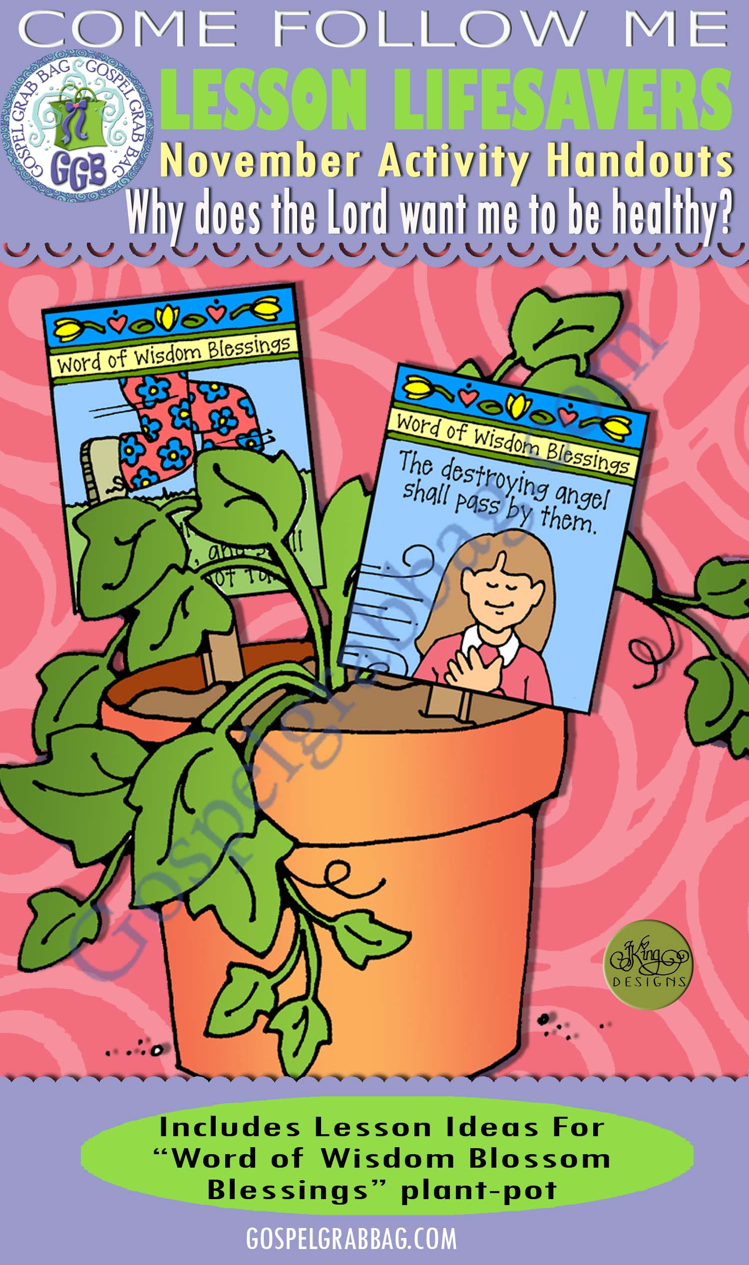 "$4.00 November Lesson 5 - Come Follow Me ""Why does the Lord want me to be healthy?"" ACTIVITY: Word of Wisdom - Blossom Blessings healthy plant pot"