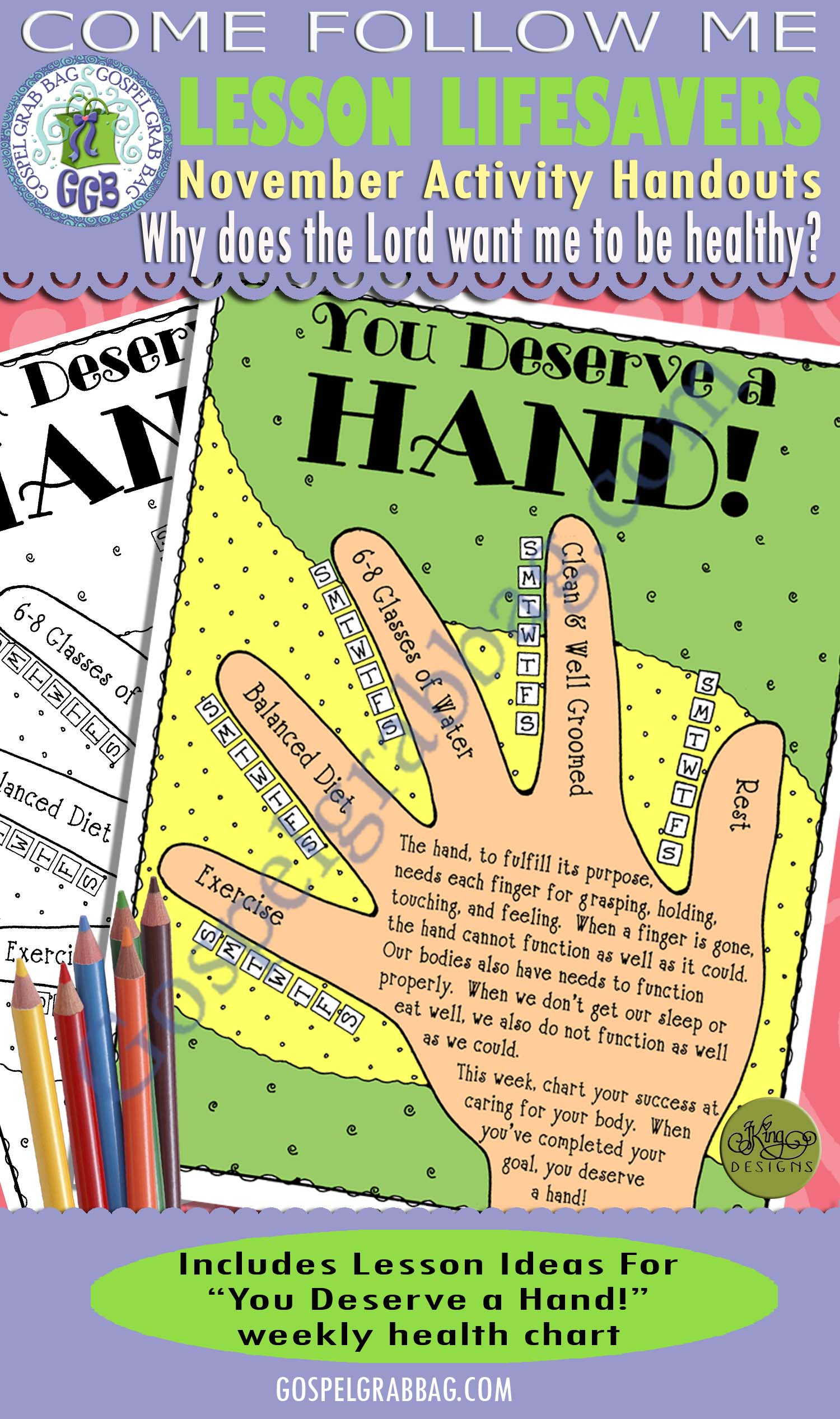 "$4.00 November Lesson 5 - Come Follow Me ""Why does the Lord want me to be healthy?"" ACTIVITY: You Deserve a Hand! health chart"