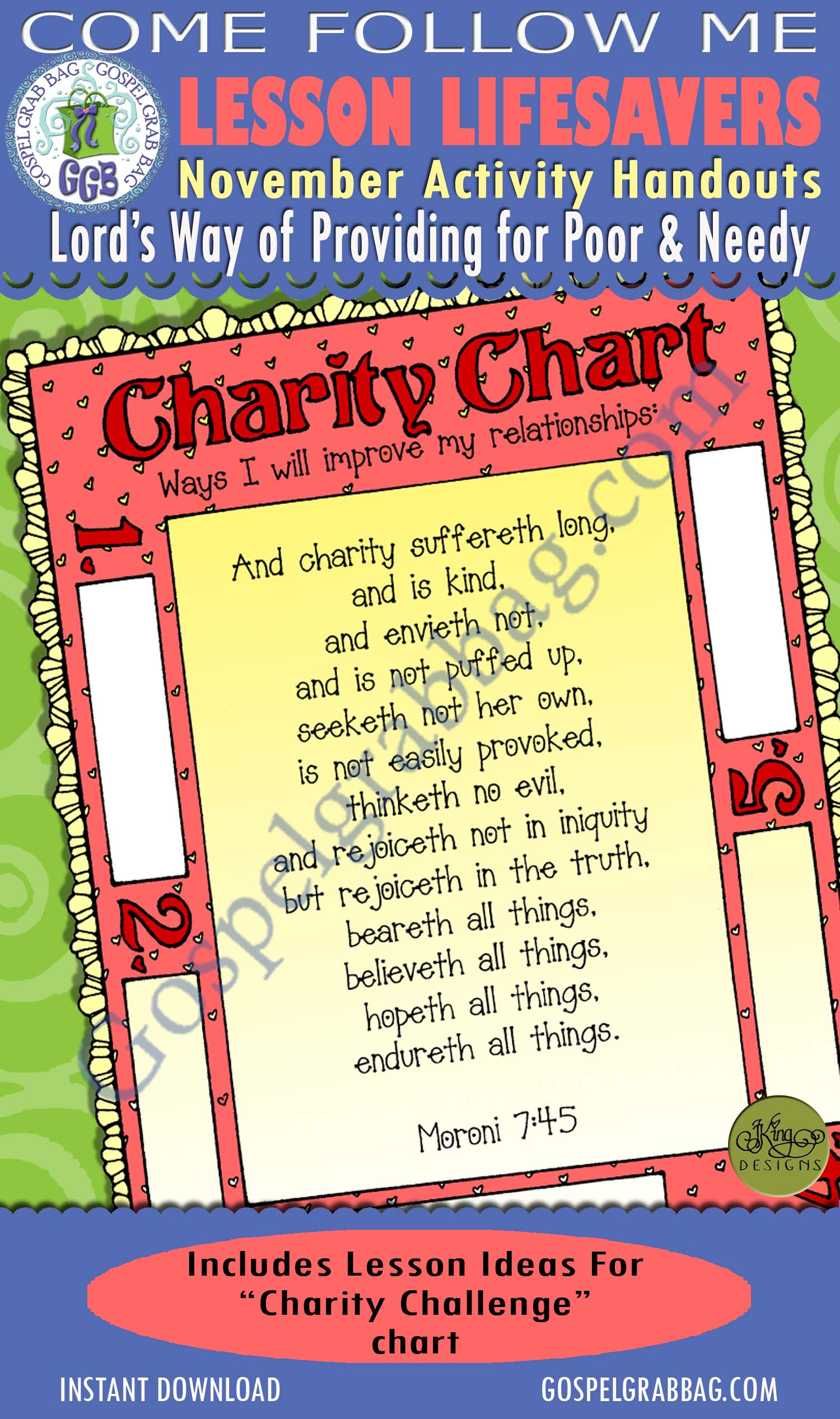 "$1.75 November Lesson 6 - Come Follow Me ""What is the Lord's way of providing for the poor and needy?"" ACTIVITY: Charity Challenge chart"
