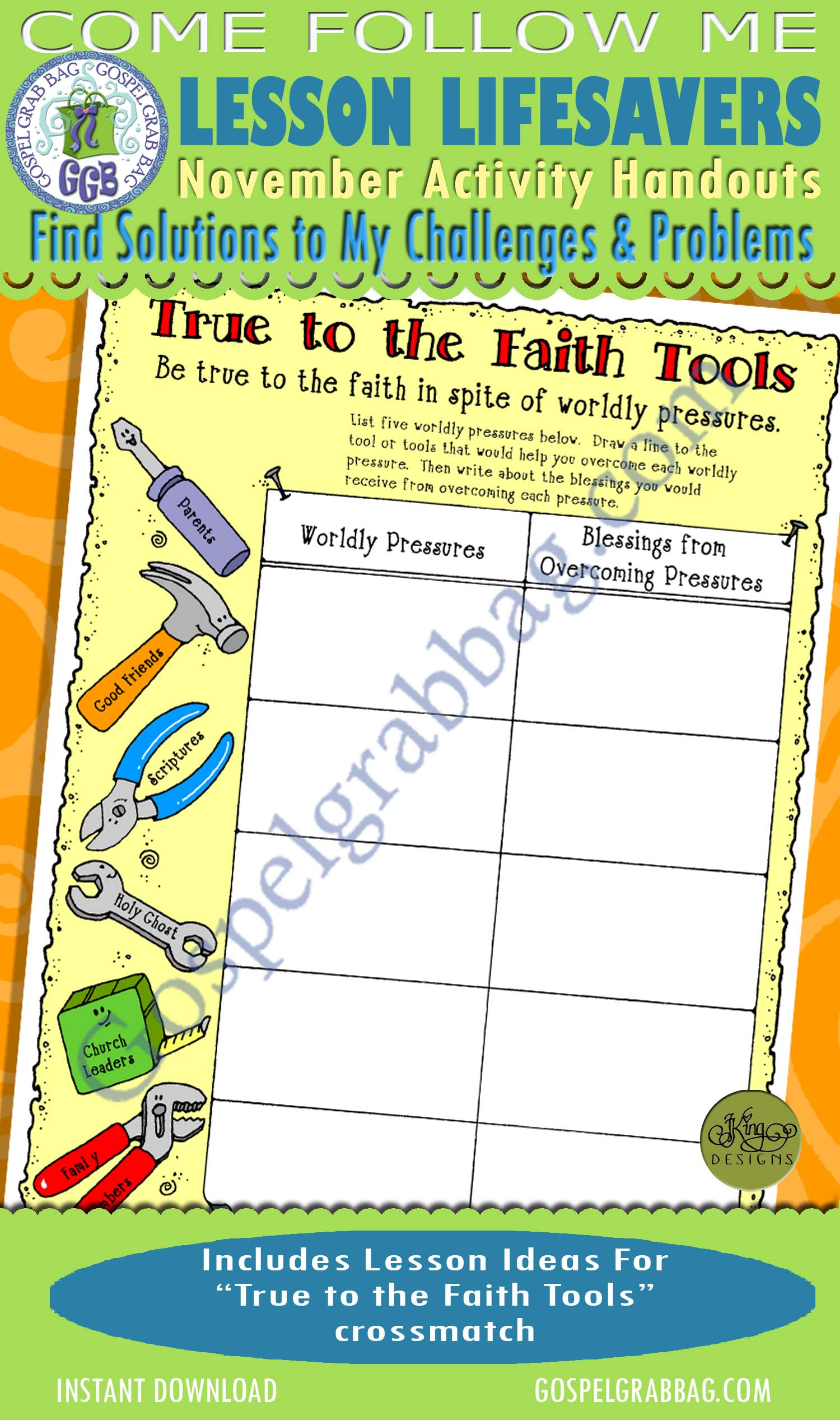 "$1.75 November Lesson 7 - Come Follow Me ""How can I find solutions to my challenges and problems?"" ACTIVITY: True to the Faith Tools crossmatch"