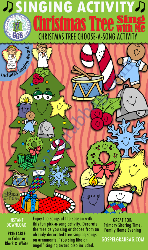"$3.00 Singing Activity: Christmas Tree Sing With Me"" Christmas Song Pick-a-Song, GospelGrabBag.com"