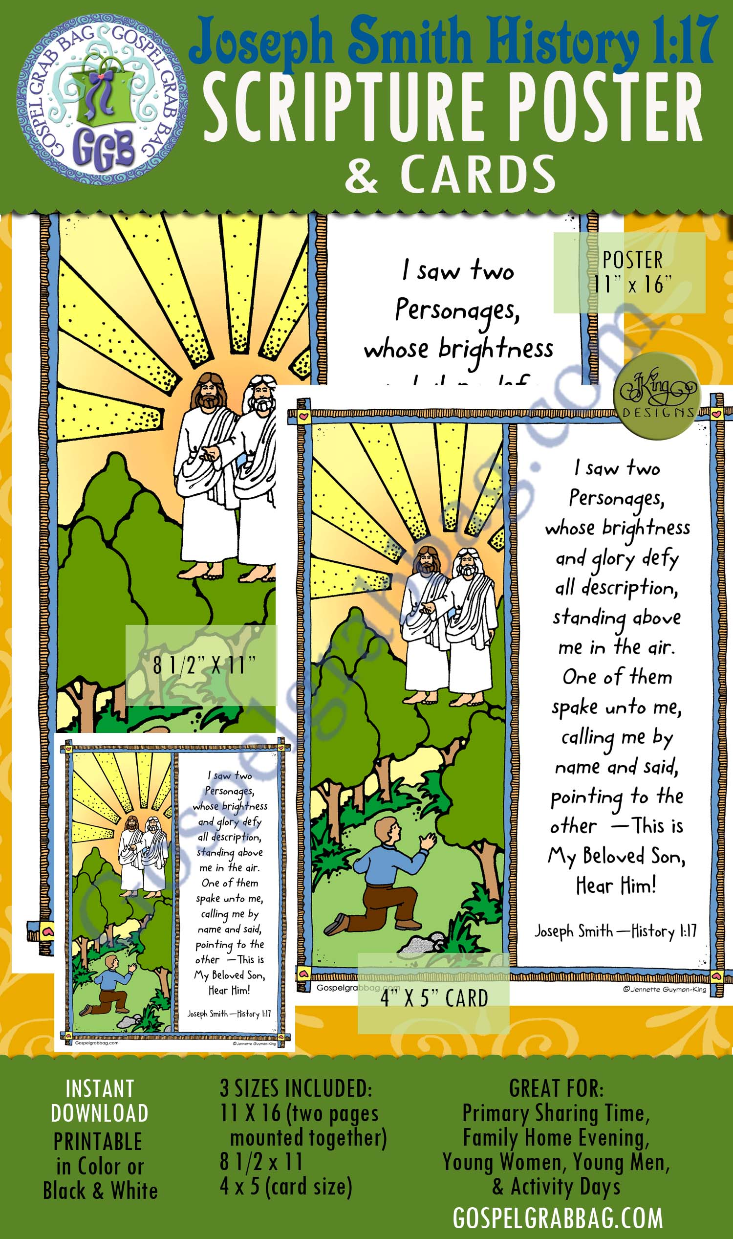 $2.00 JSH 1.17 - Joseph Smith History 1:17 SCRIPTURE POSTERs and cards, GospelGrabBag.com
