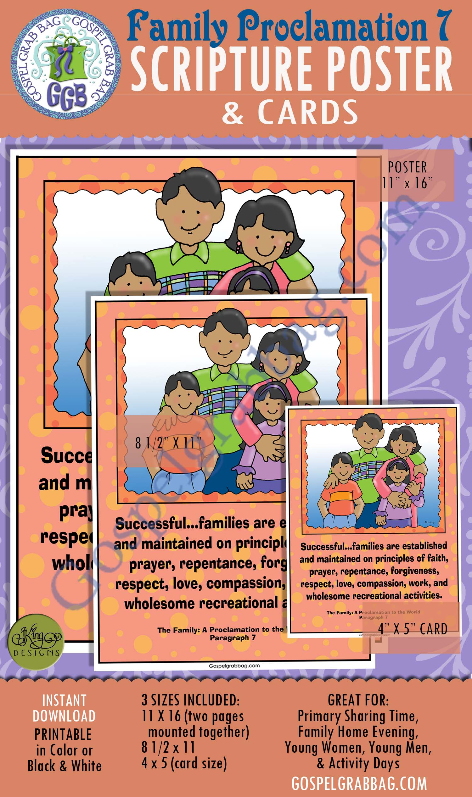 $2.00 SCRIPTURE POSTERS & CARDS: The Family: A Proclamation to the World 7, GospelGrabBag.com
