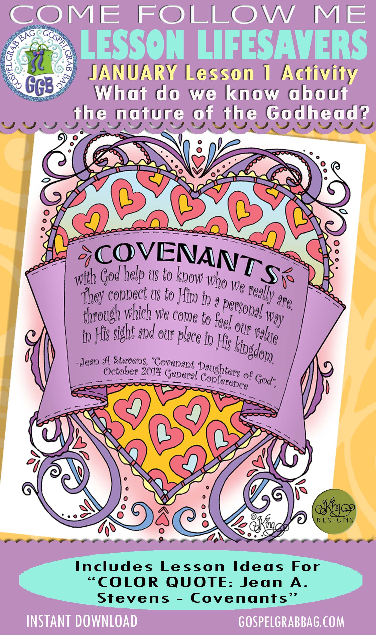 """$2.00 January Lesson 1 - Come Follow Me """"What do we know about the nature of the Godhead?"""" ACTIVITY: Color Quote """"Covenants of God help us . . ."""""""