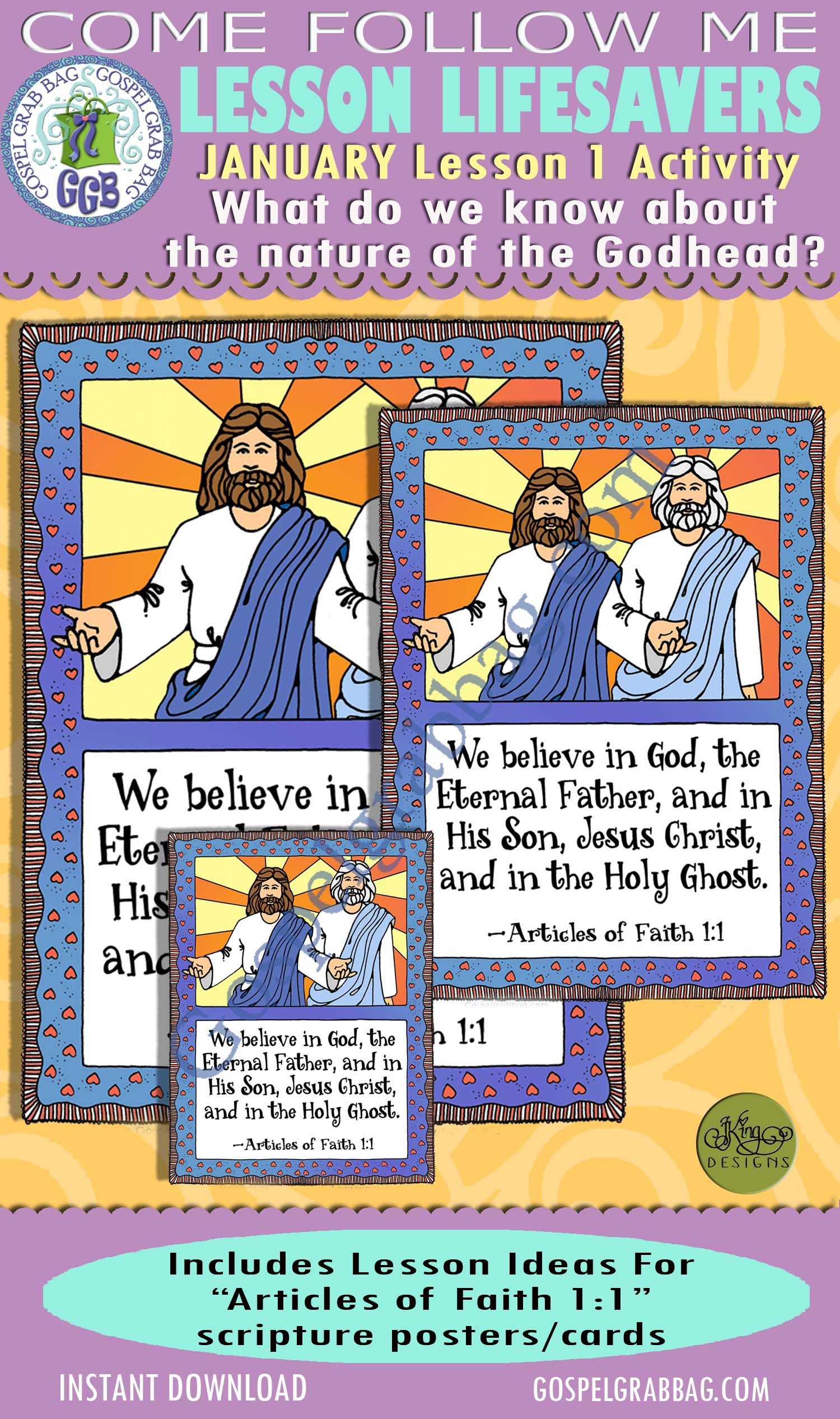 """$2.00 January Lesson 1 - Come Follow Me """"What do we know about the nature of the Godhead?"""" ACTIVITY: Articles of Faith 1 Poster and Cards"""
