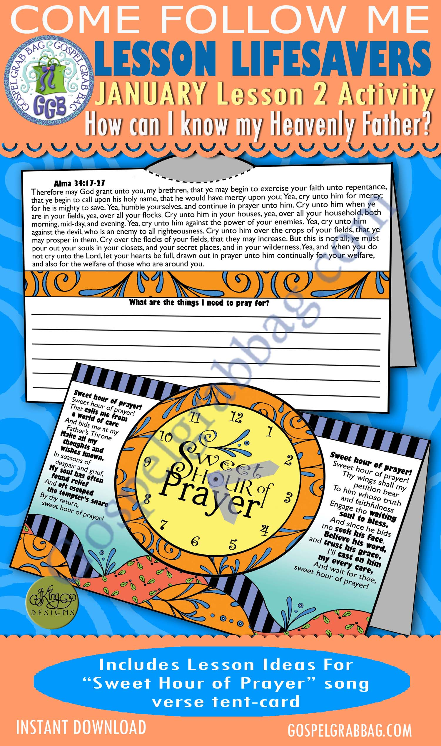 """$1.75 January Lesson 2 - Come Follow Me """"How do I know my Heavenly Father?"""" ACTIVITY: Sweet Hour of Prayer verse prayer list"""