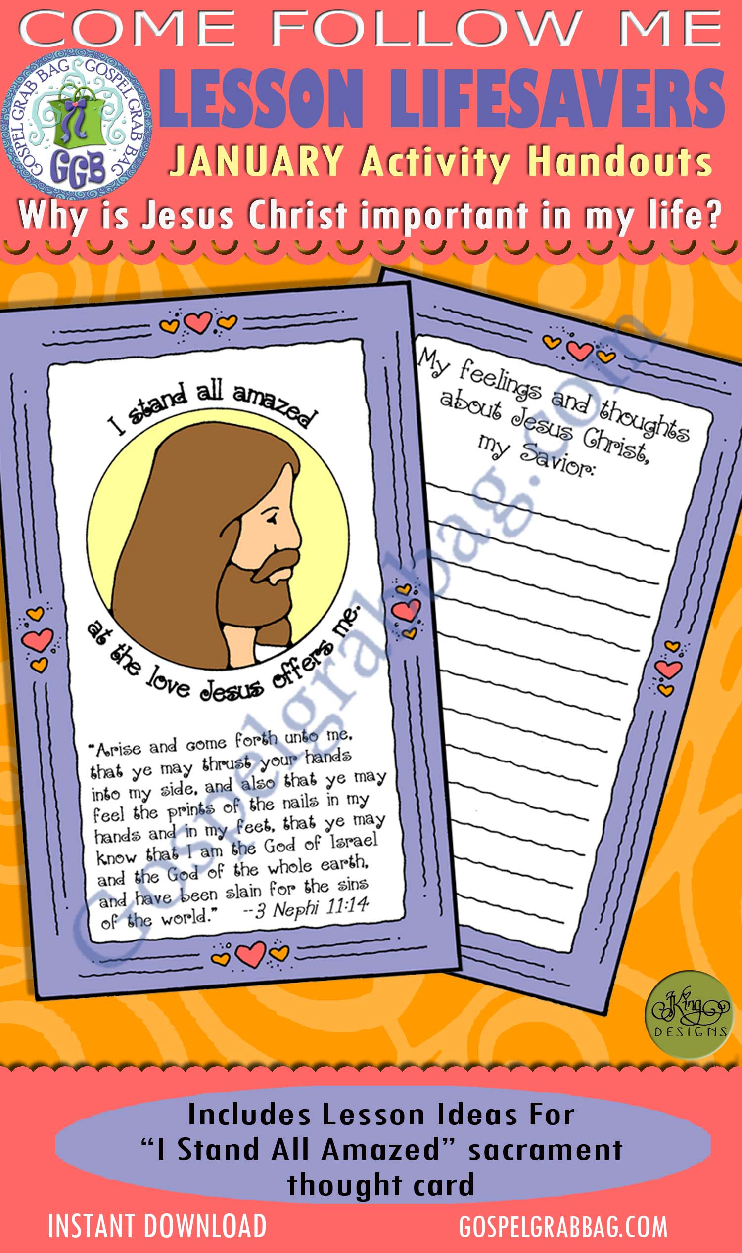 """$1.75 January Lesson 3 - Come Follow Me """"Why is Jesus Christ important in my life?"""" ACTIVITY: I Stand All Amazed sacrament thought card"""