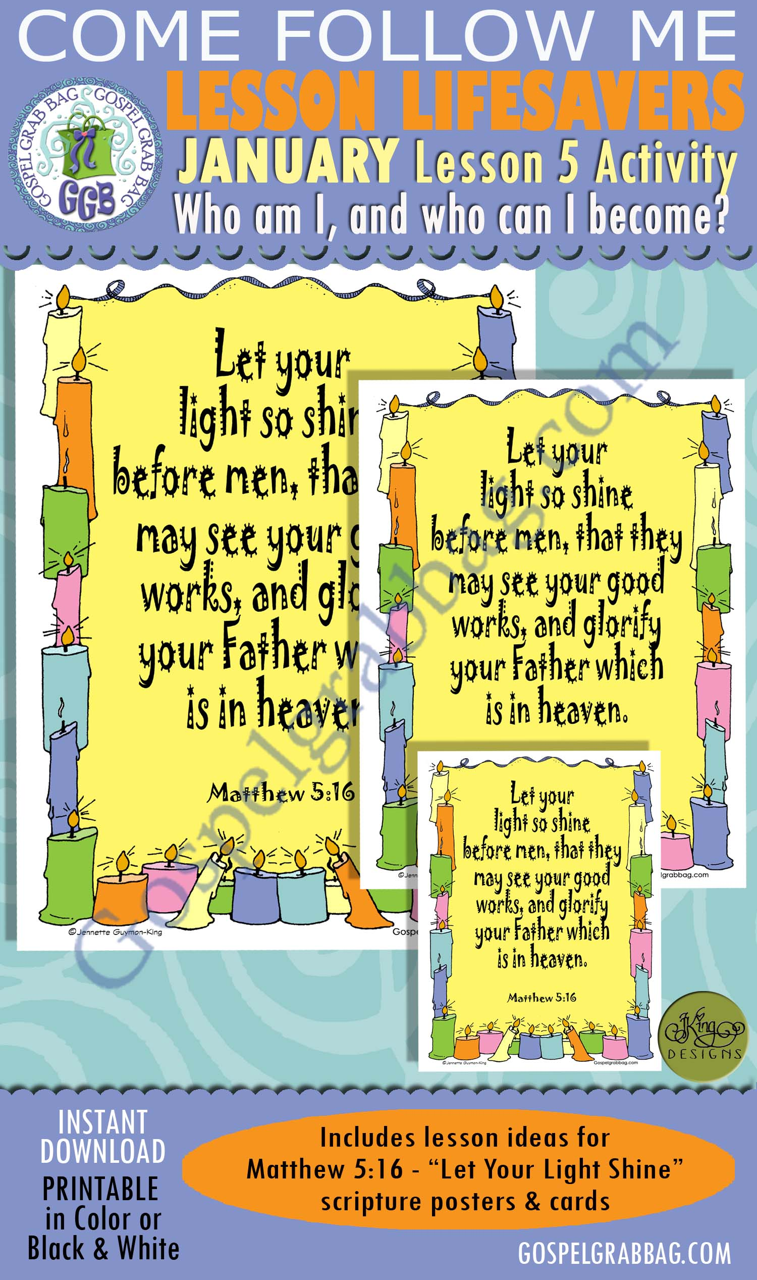 """$2.00 January Lesson 5 - Come Follow Me """"Who am I, and who can I become?"""" ACTIVITY: Matthew 5:16 Scripture Memorization Poster and Cards"""