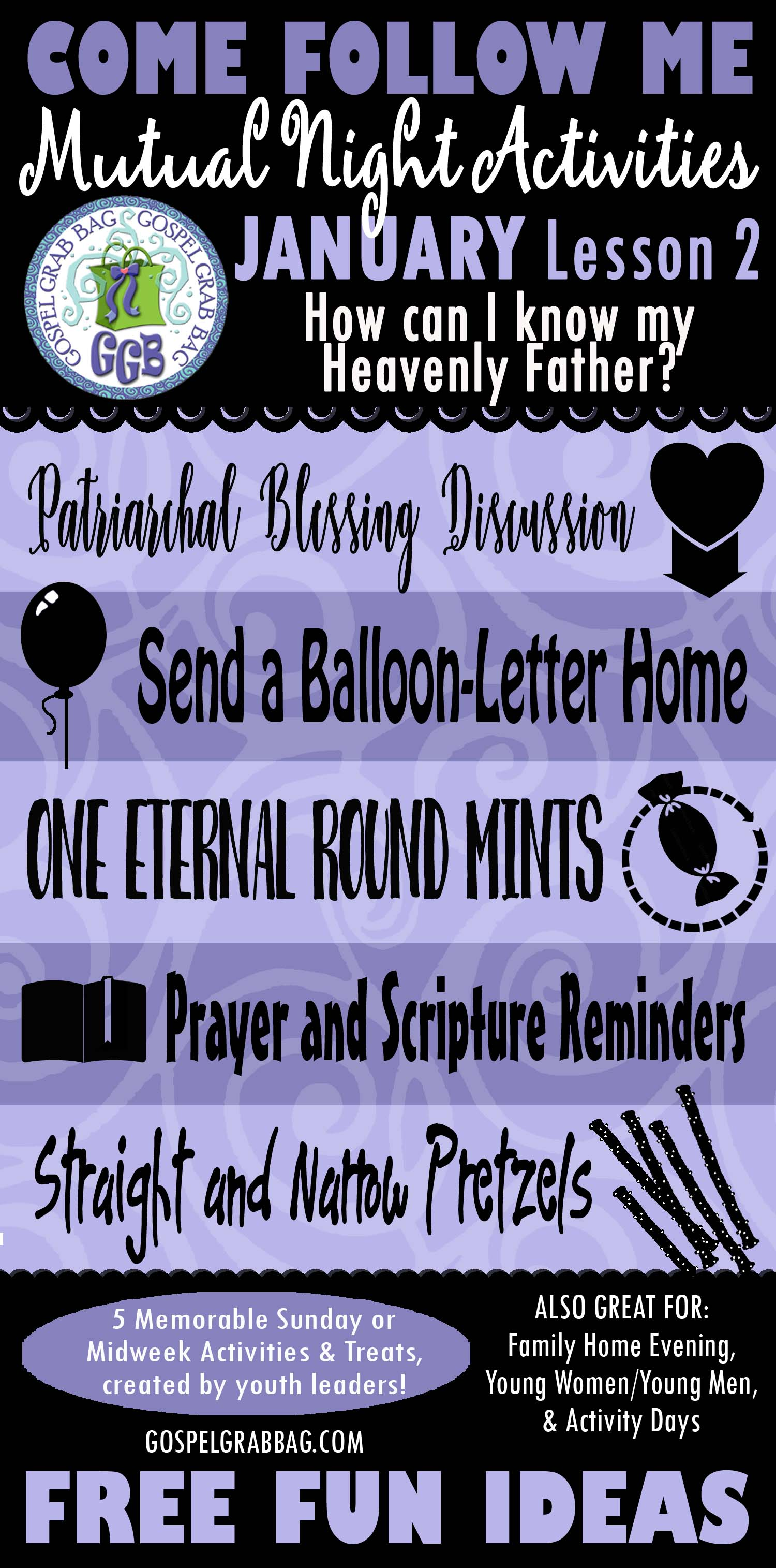 """MUTUAL NIGHT IDEAS: January Lesson #2 Come Follow Me Lesson Activities - Theme: """"How do I know my Heavenly Father?"""""""