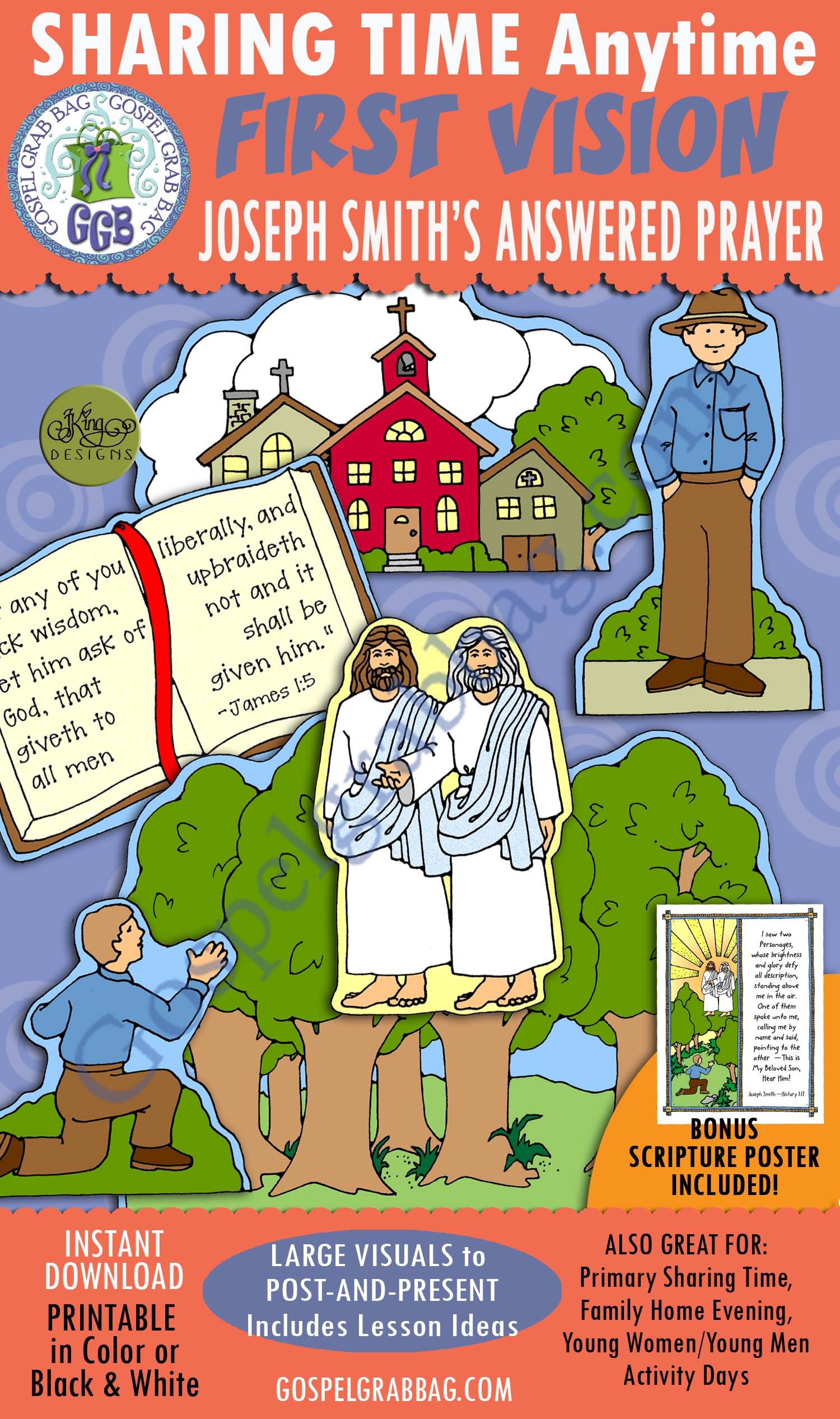 $3.50 FIRST VISION: Joseph Smith's Answered Prayer Activity, and Joseph Smith History 1:17 SCRIPTURE POSTER & CARDS