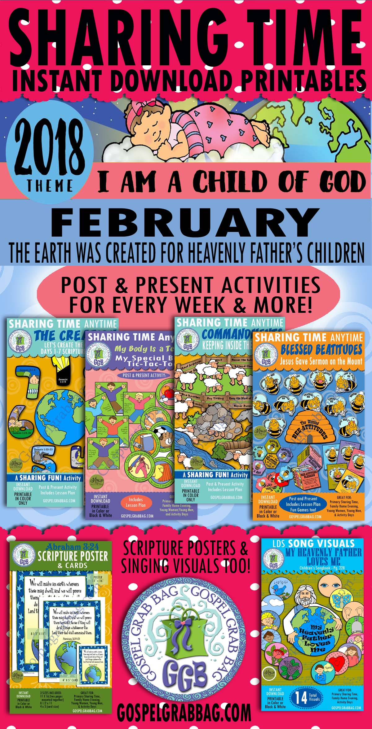 """2018 Primary Sharing Time Activities - FEBRUARY Theme: """"The Earth Was Created for Heavenly Fathers Children"""", Primary Sharing Time, Primary Lesson Activity, GospelGrabBag.com"""