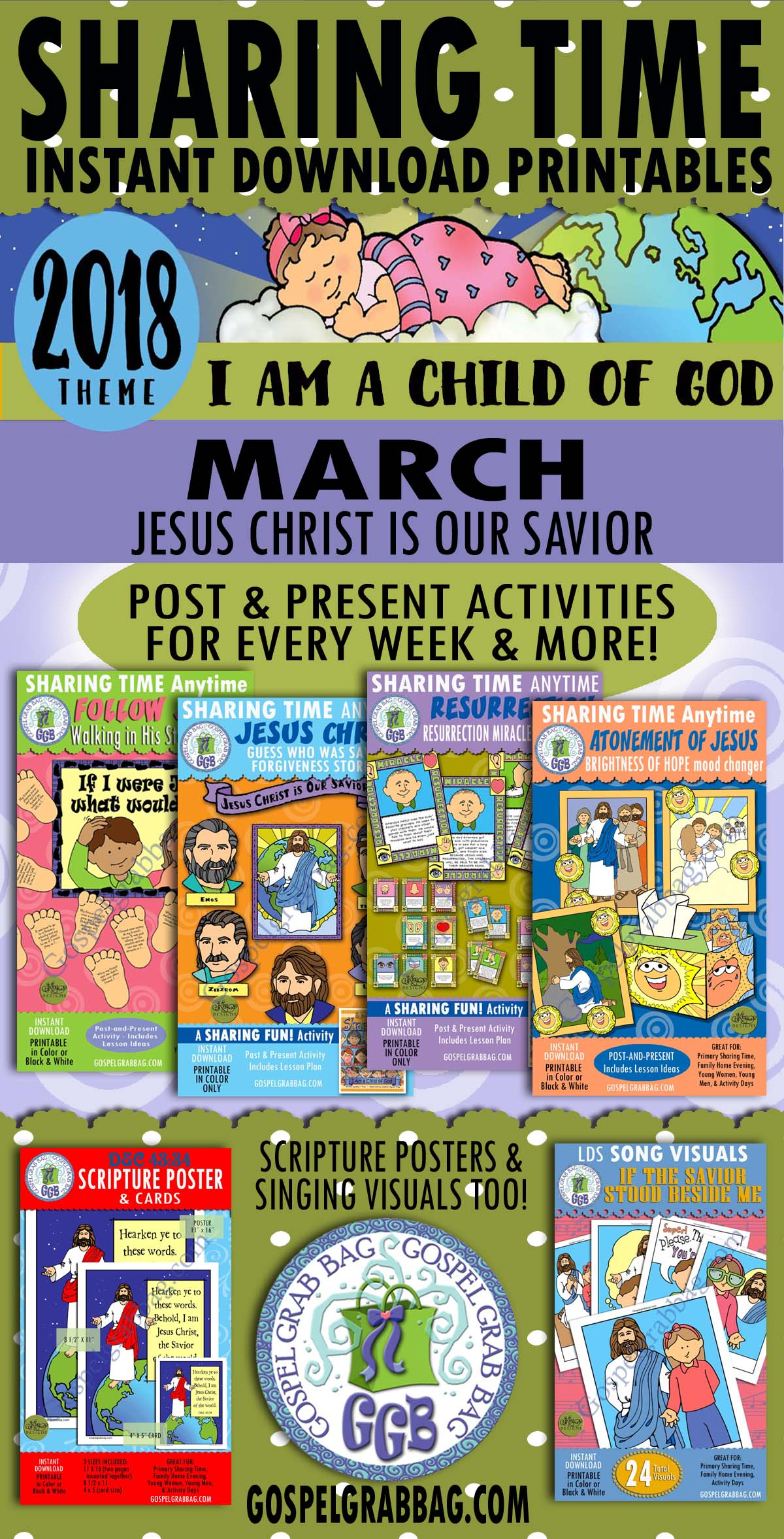 "2018 Primary Sharing Time Activities - MARCH Theme: ""Jesus Christ Is Our Savior"", Primary Sharing Time, GospelGrabBag.com"