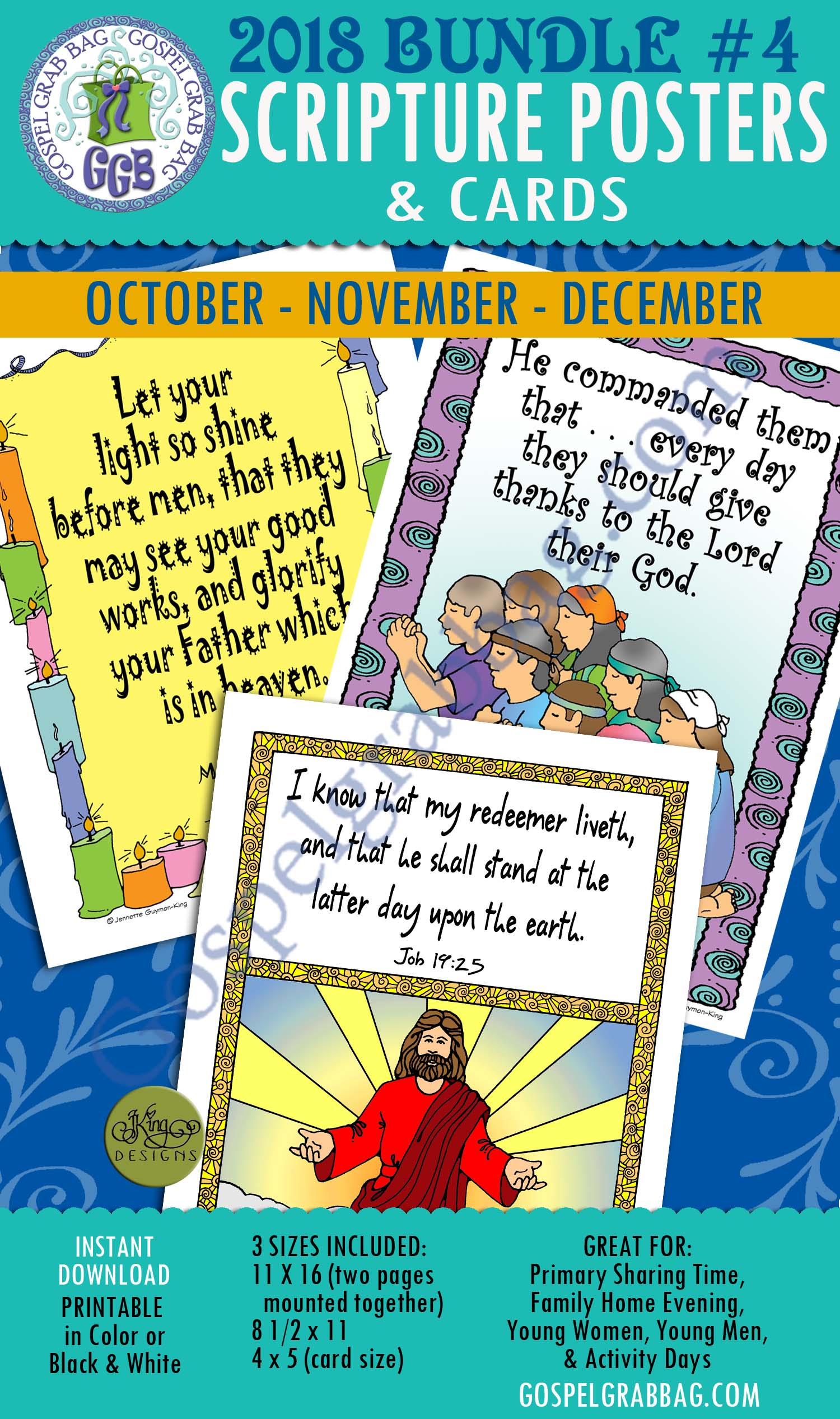 400 BUNDLE 4 Scripture Posters Cards For Sharing Time October November