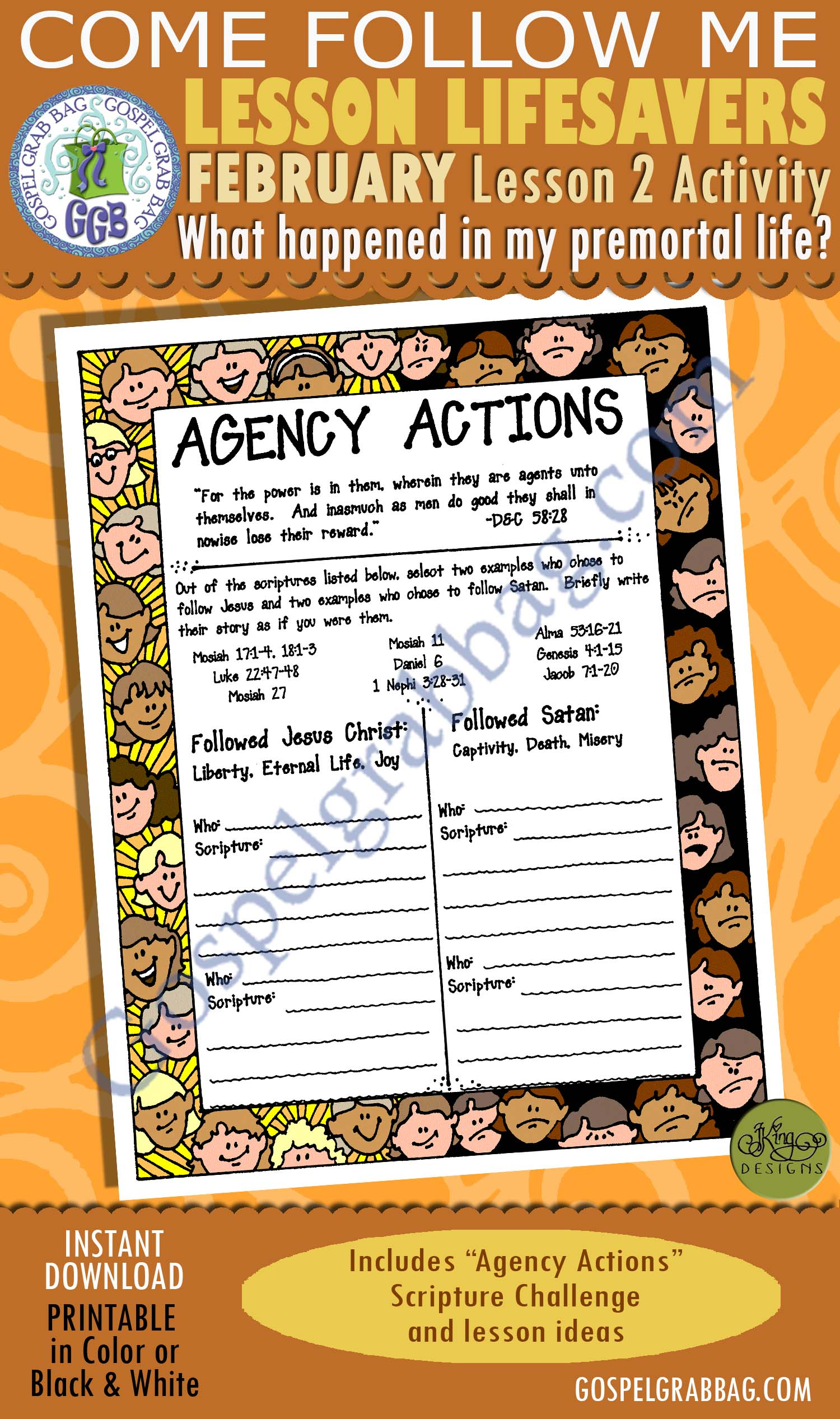 "$1.75 February Lesson 2 - Come Follow Me ""What happened in my premortal life?"" ACTIVITY: Agency Actions"