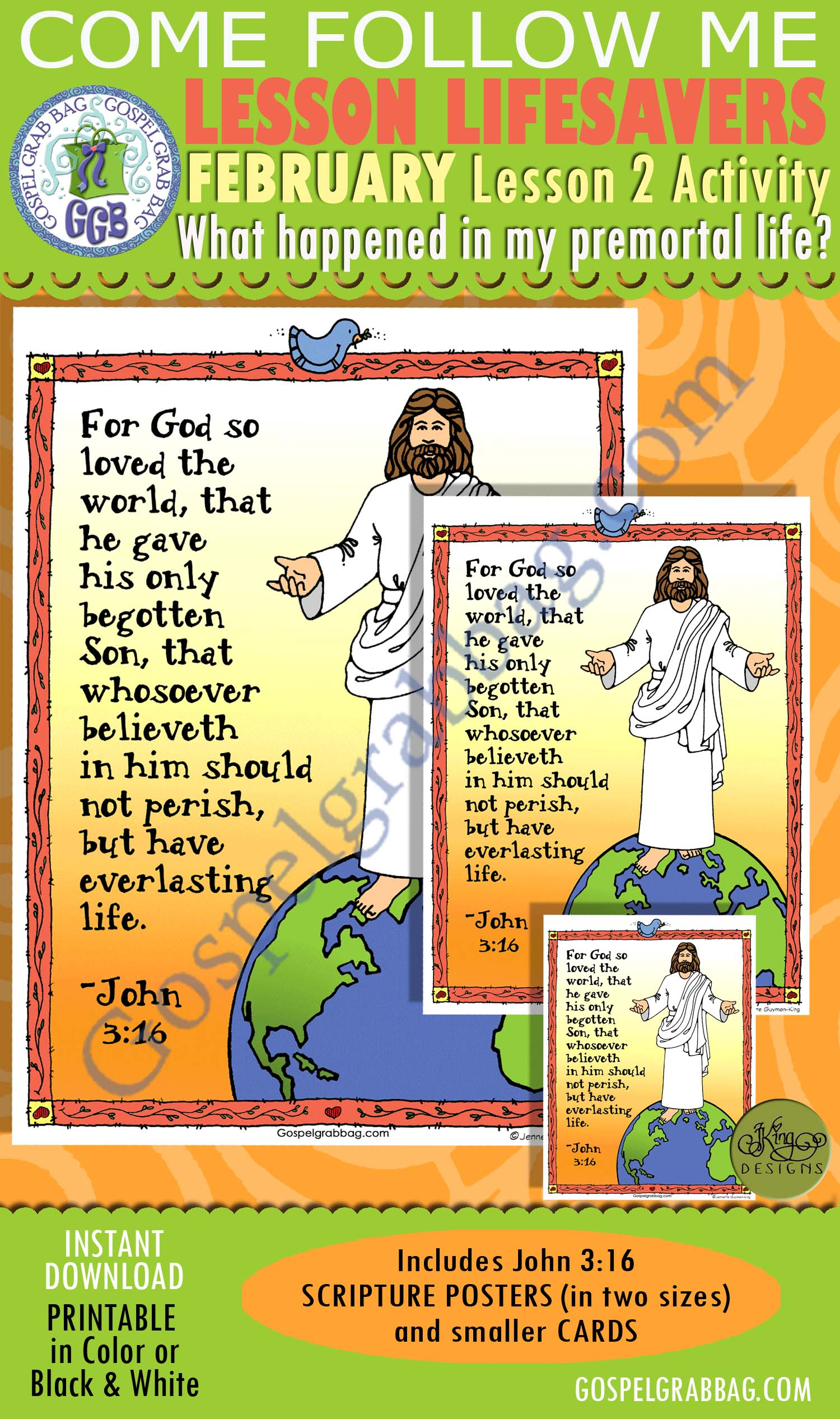 "$1.75 February Lesson 2 - Come Follow Me ""What happened in my premortal life?"" ACTIVITY: John 3:16 Scripture Posters & Cards"