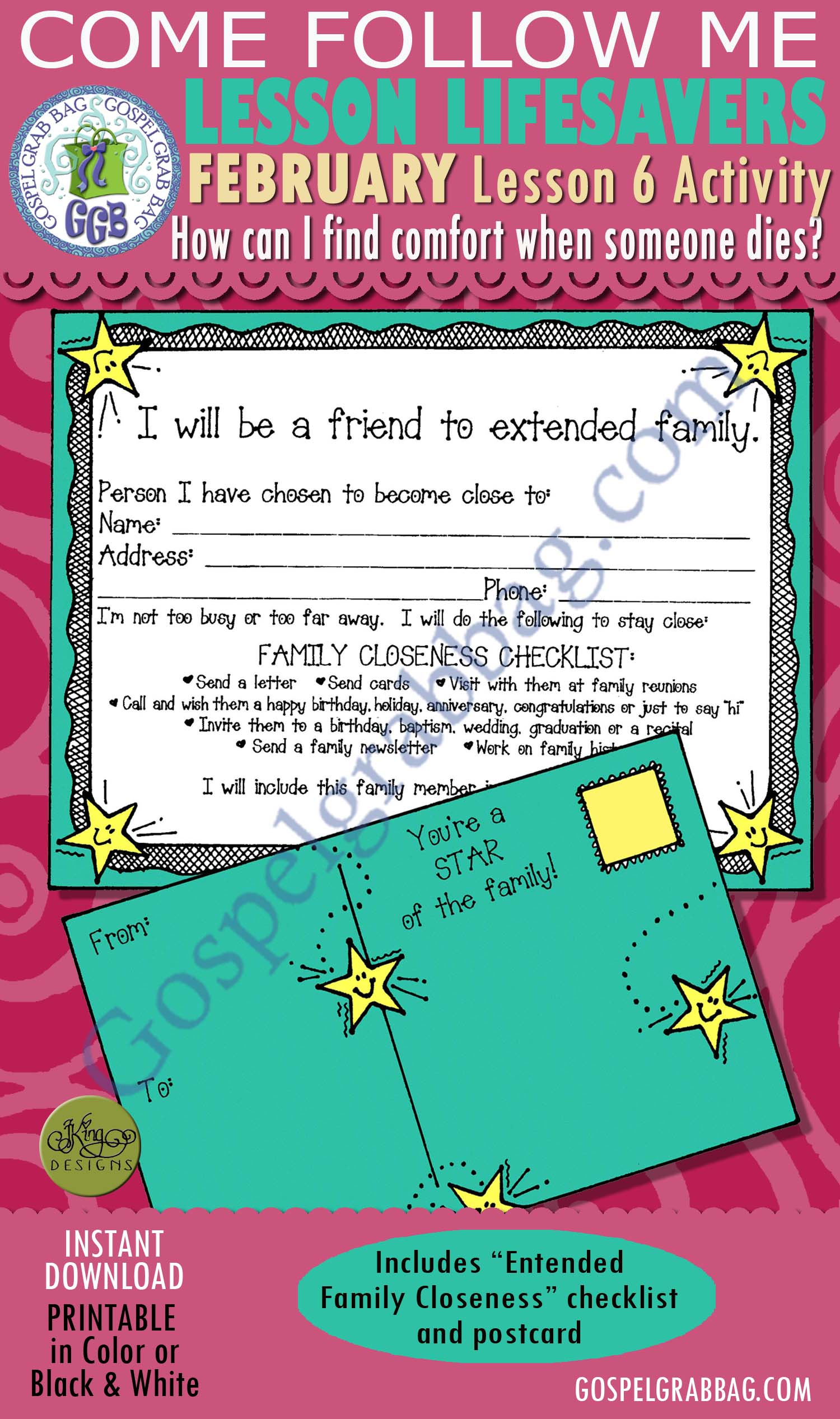"$1.75 February Lesson 6 Come Follow Me ""How can I find comfort when someone I care about dies?"" ACTIVITY: Extended Family Closeness checklist and postcard"