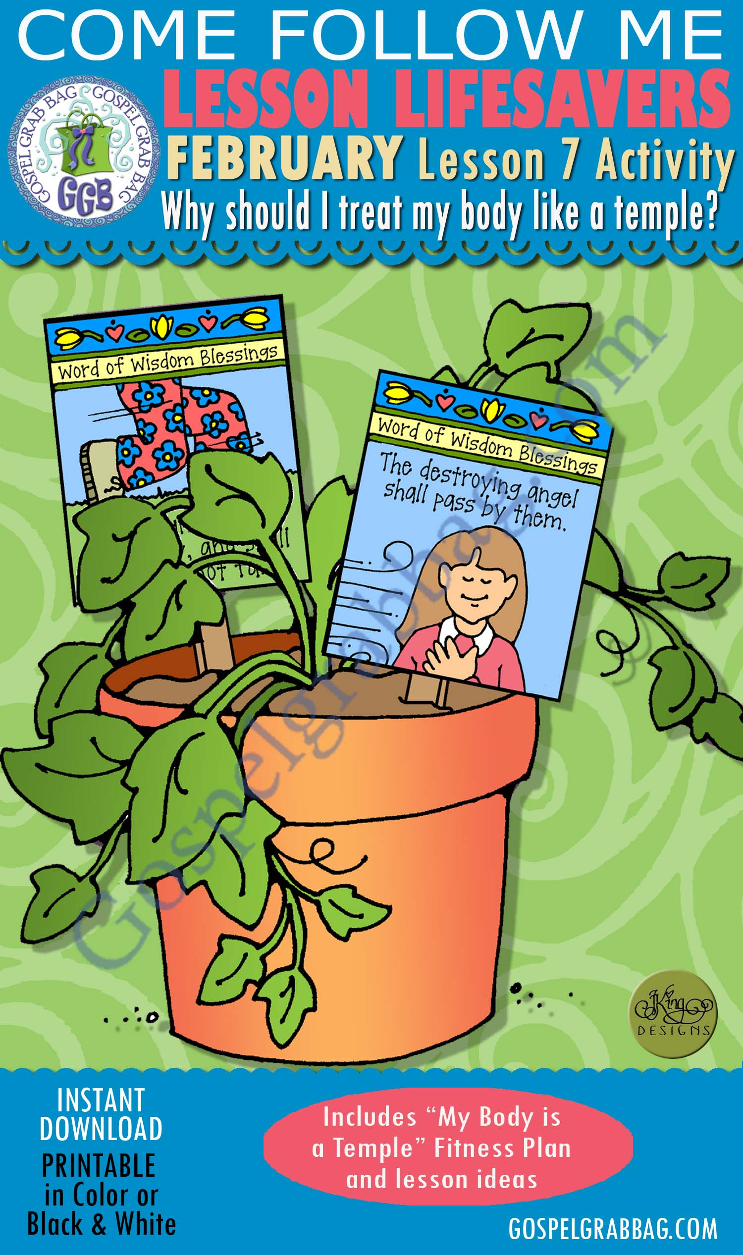 "$3.00 February Lesson 7 Come Follow Me ""Why should I treat my body like a temple?"" ACTIVITY: Word of Wisdom Blossom Blessings plant signs & block game, Young Women handouts, GospelGrabBag.com"