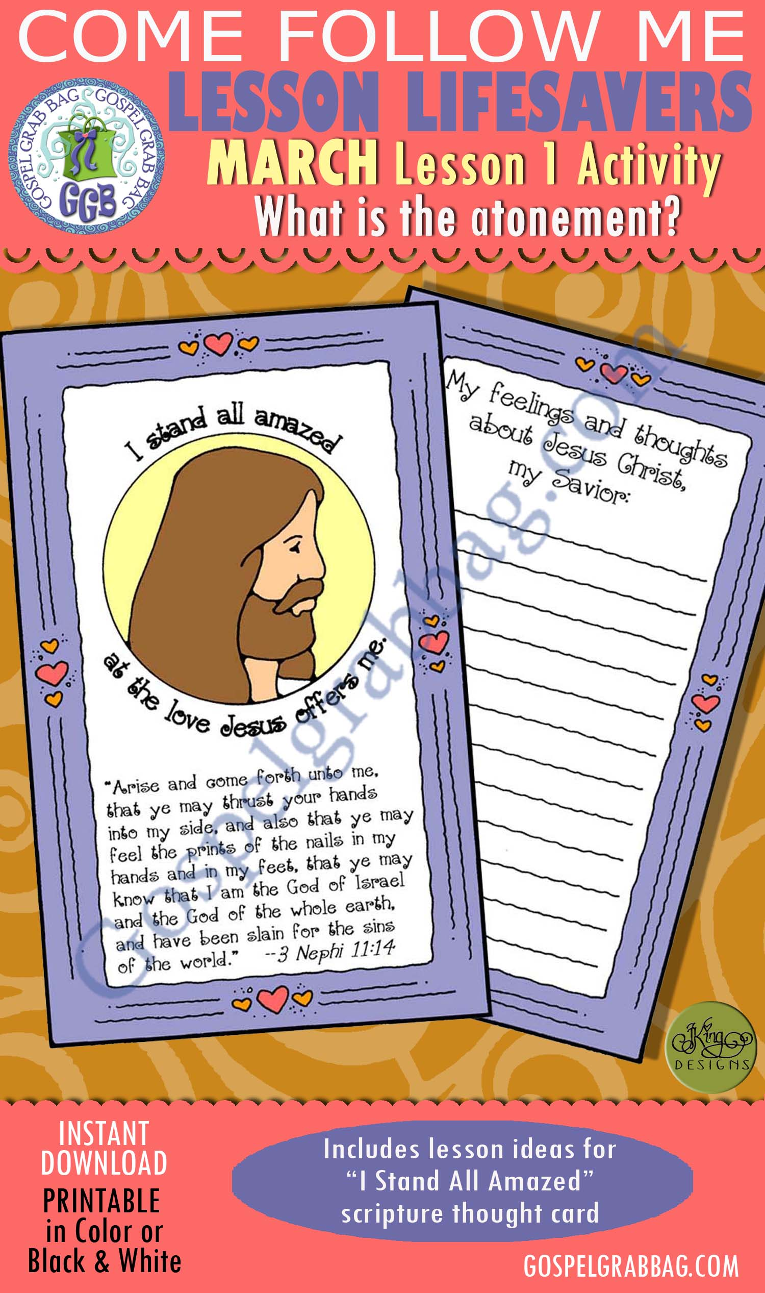 """$1.75 MARCH Lesson 1 Come Follow Me """"What is the Atonement?"""" ACTIVITY: I Stand All Amazed sacrament thought card, Young Women handout, GospelGrabbag.com, LDS Printables"""