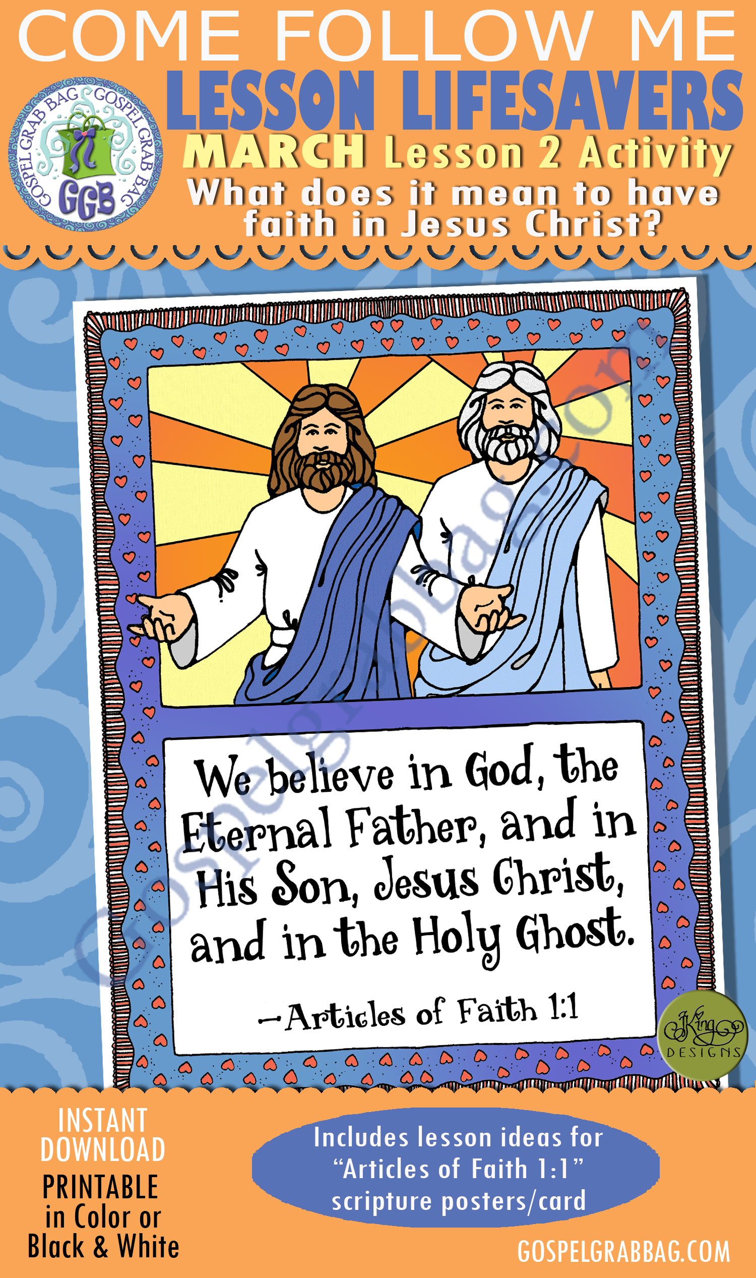 """$2.00 MARCH Lesson 2 Come Follow Me """"What does it mean to have faith in Jesus Christ?"""" ACTIVITY: """"We believe in . . . Jesus Christ"""" Articles of Faith 1:1 poster and cards"""