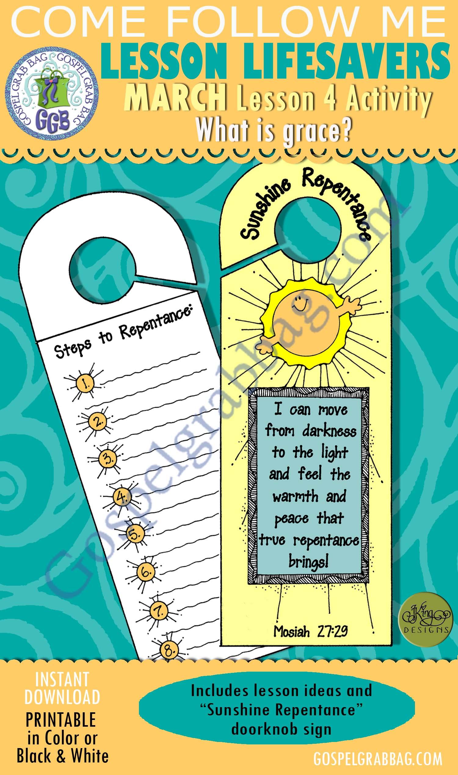 """$1.75 MARCH Lesson 4 Come Follow Me """"What is Grace?"""" ACTIVITY: Sunshine Repentance doorknob sign, Young Women handouts, GospelGrabBag.com, LDS Printables"""