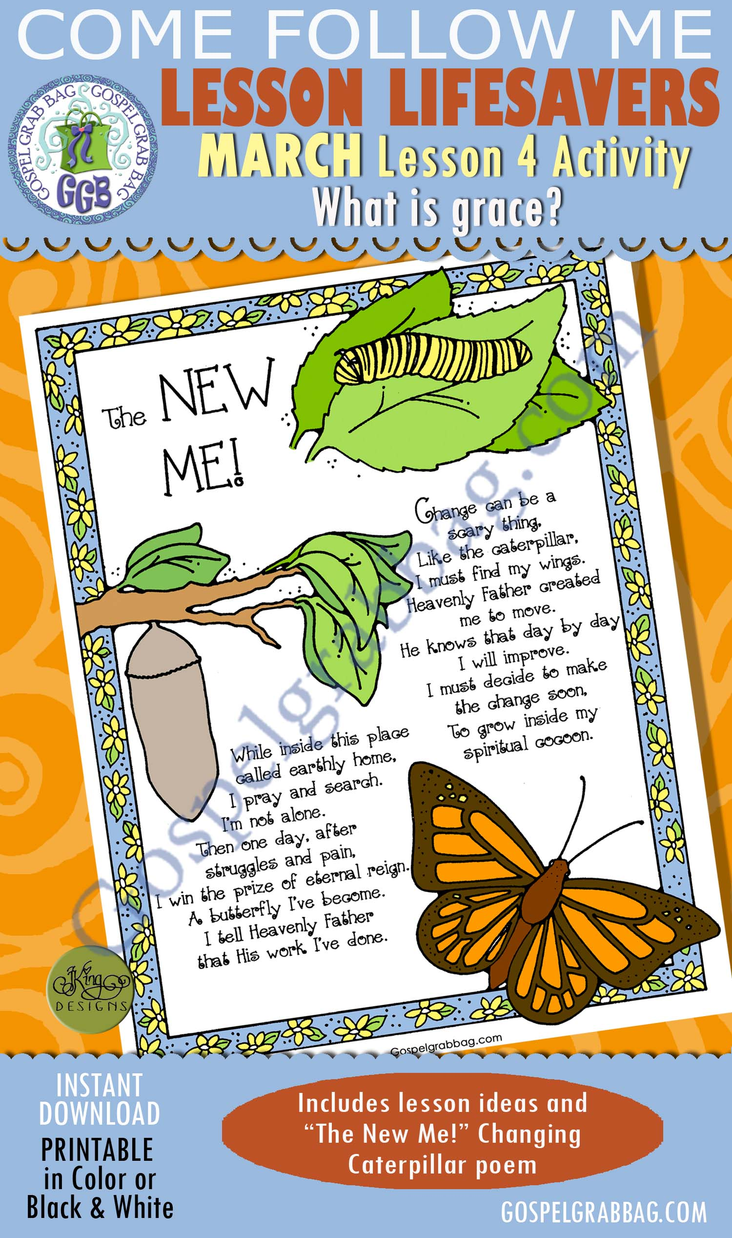 """$1.75 MARCH Lesson 4 Come Follow Me """"What is Grace?"""" ACTIVITY: The New You! Changing Caterpillar poem poster, Young Women handouts, GospelGrabBag.com, LDS Printables"""