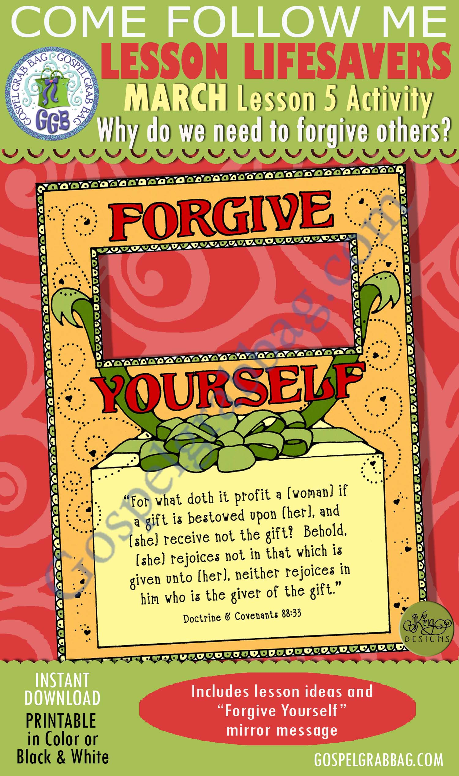 """$1.75 MARCH Lesson 5 Come Follow Me """"Why do we need to forgive others?"""" ACTIVITY: Forgive Yourself mirror motivator, Young Women handouts, GospelGrabBag.com"""