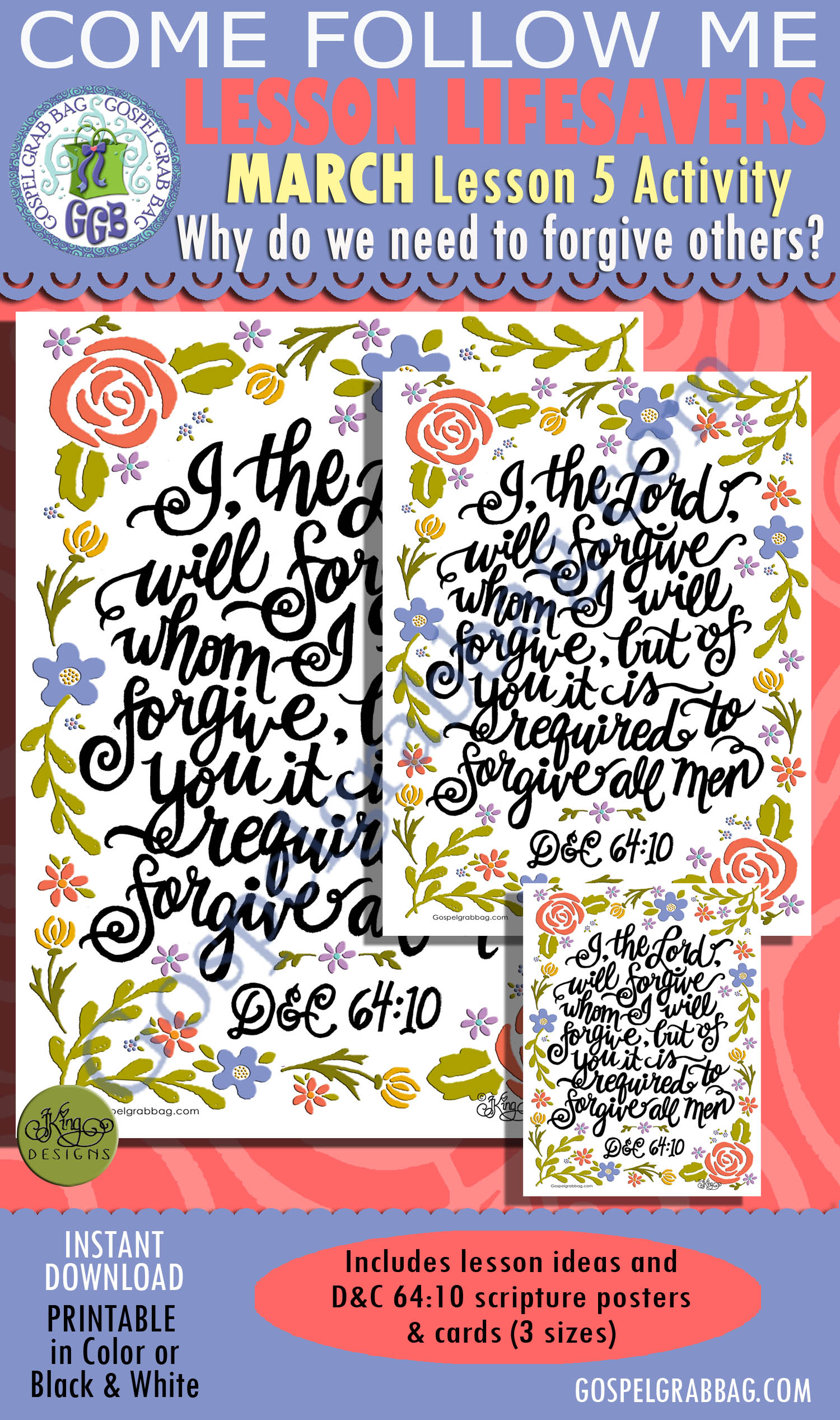 """$2.00 MARCH Lesson 5 Come Follow Me """"Why do we need to forgive others?"""" ACTIVITY: D&C 64:10 Forgive all men, Scritpure Poster / Cards"""