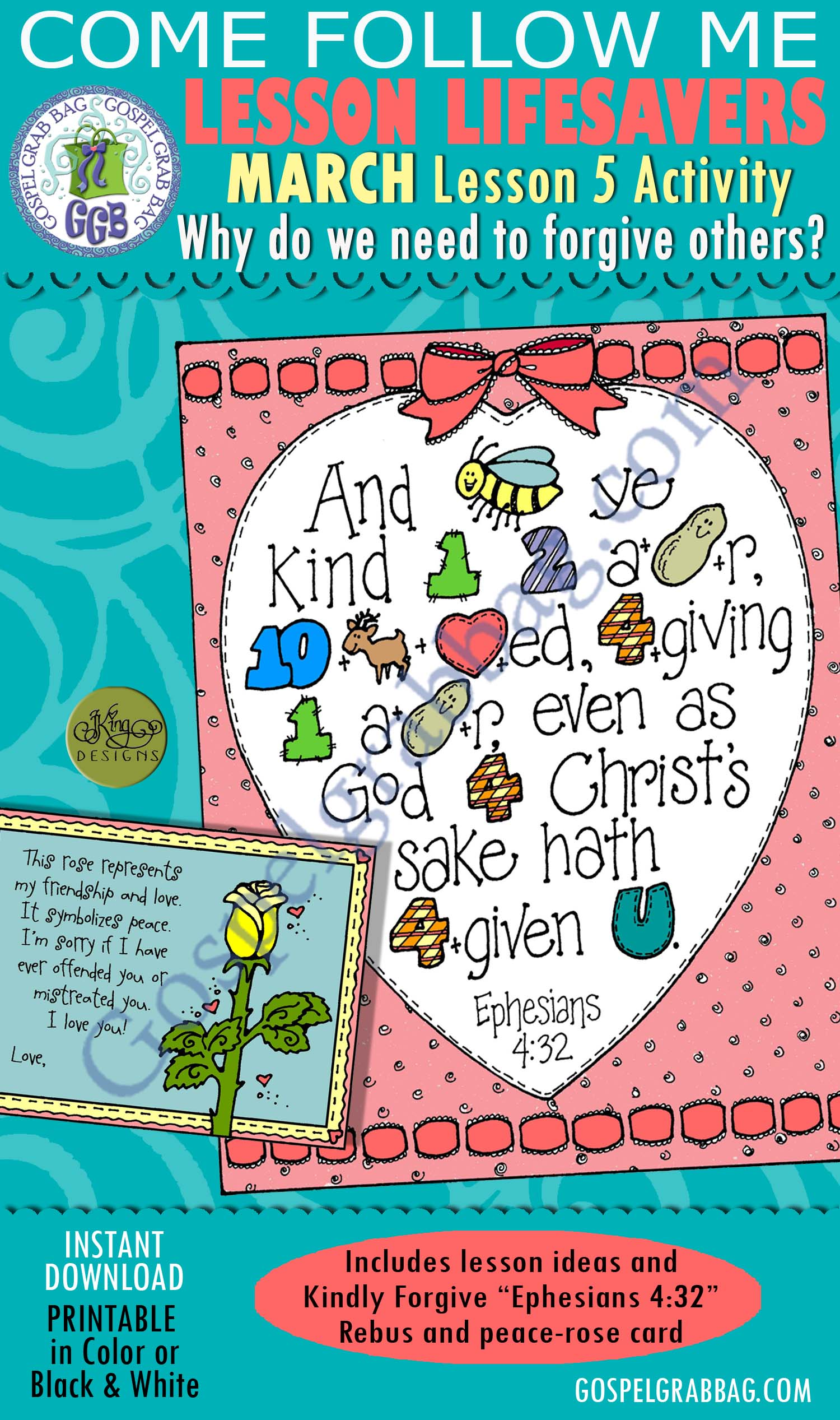 """$1.75 MARCH Lesson 5 Come Follow Me """"Why do we need to forgive others?"""" ACTIVITY: Kindly Forgive - Ephesians 4:32 scripture Rebus, and peace rose card, Young Women handouts, LDS Printables, Gospelgrabbag.com"""