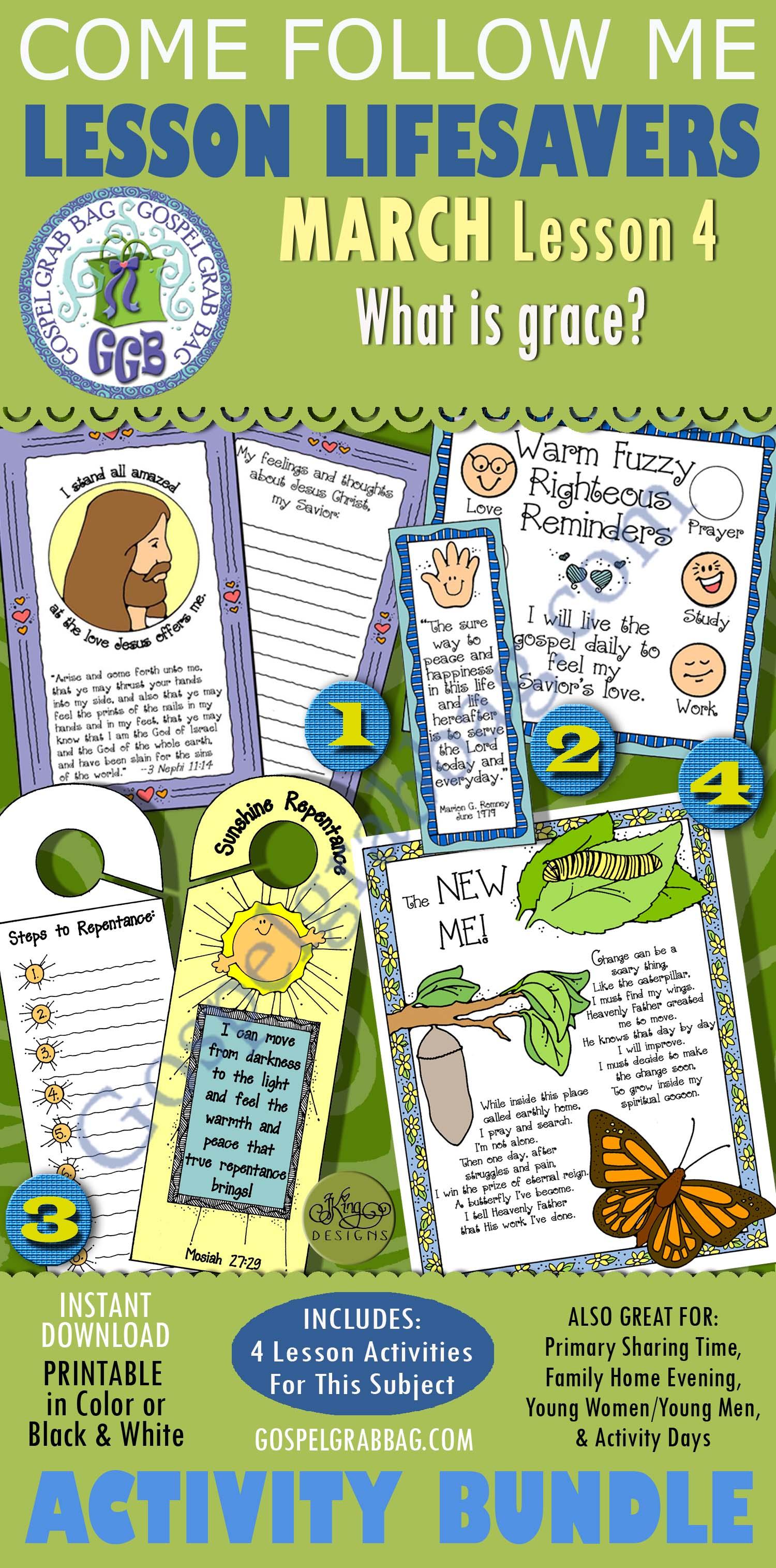 """$4.00 MARCH Lesson 4 - Come Follow Me """"What is grace?"""" BUNDLE, Young Women handouts, GospelGrabBag.com"""