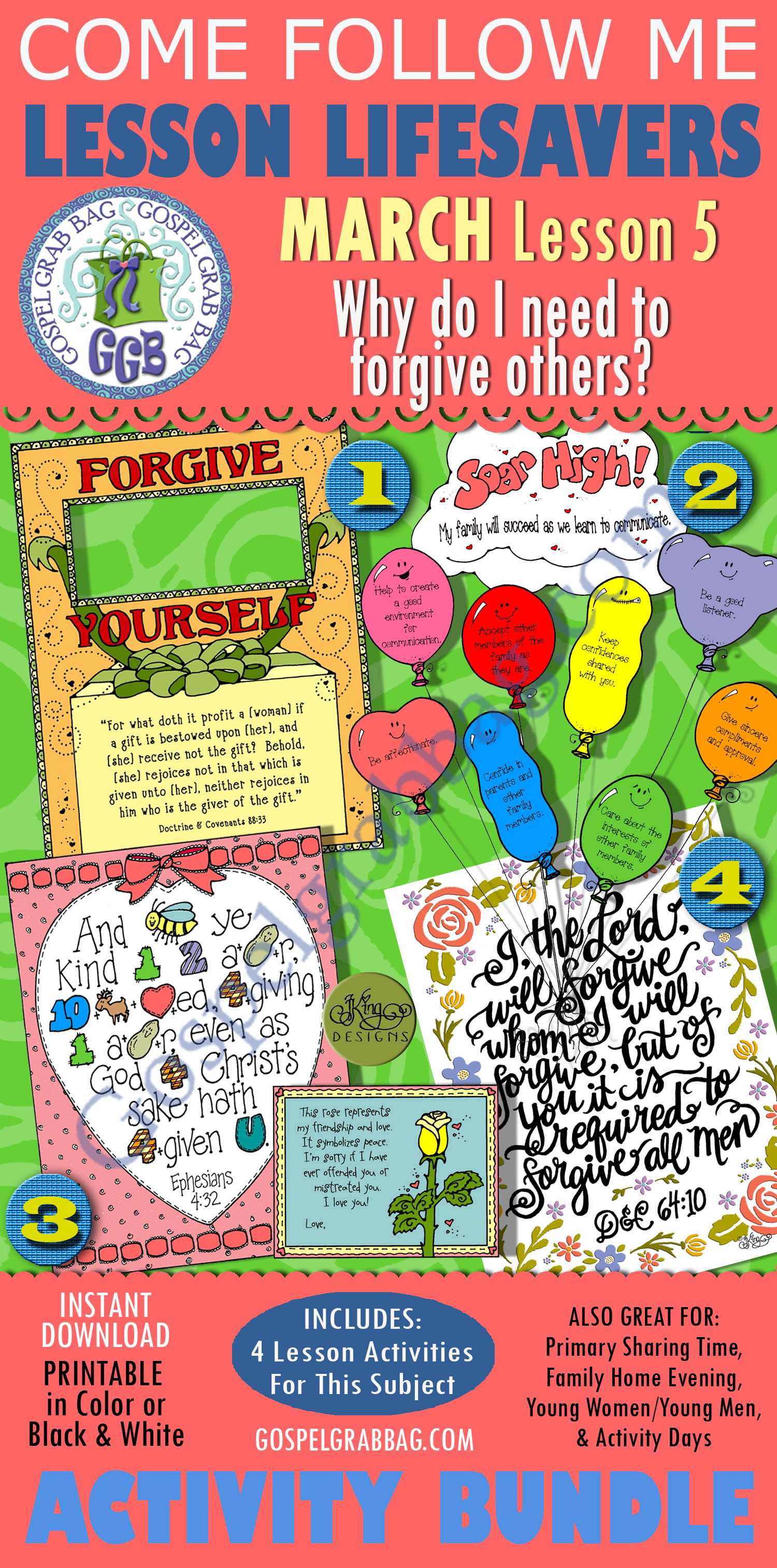"""$4.00 MARCH Lesson 5 - Come Follow Me """"Why do I need to forgive others?"""" Young Women LESSON LIFESAVERS, handouts, seminary, GospelGrabBag.com"""