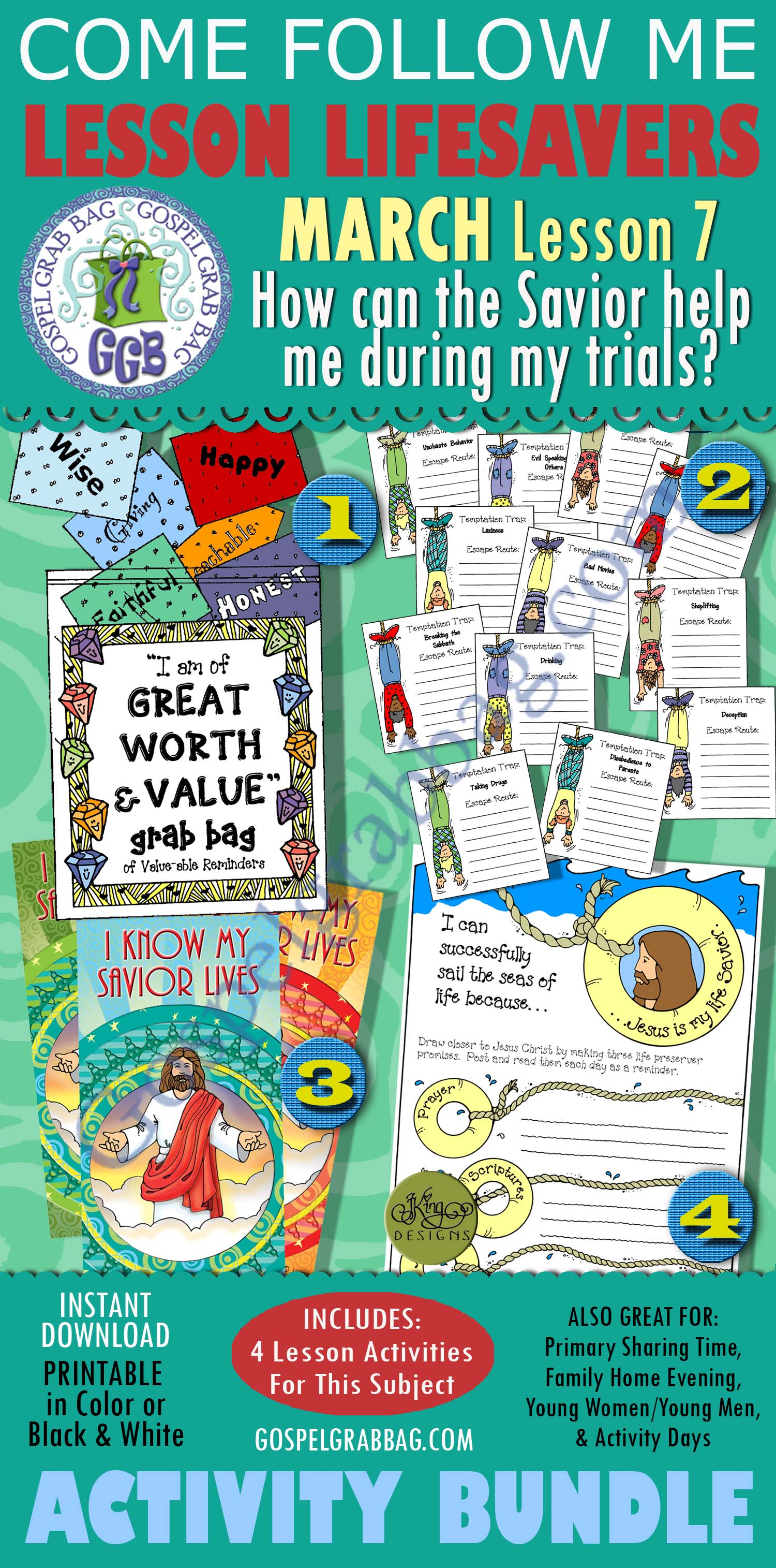 """$4.00 MARCH Lesson 7 - Come Follow Me """"How can the Savior help me during my trials?"""" BUNDLE Young Women handouts/activities, GospelGrabBag.com"""