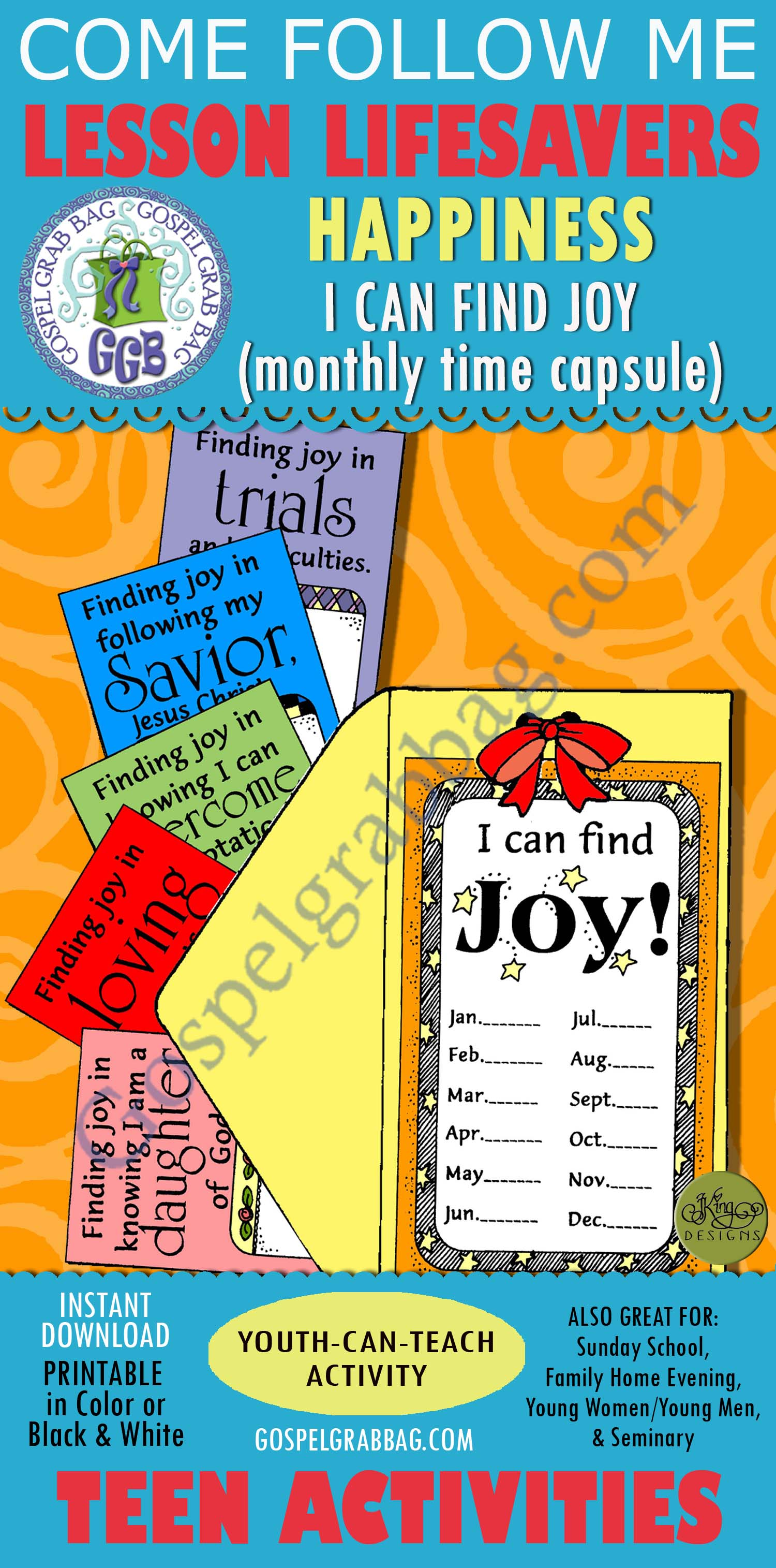 Attitude - Happiness - Trials: LESSON LIFESAVER Activity: Finding Joy -  Monthly Time Capsule, Come Follow Me handout - Gospel Grab Bag