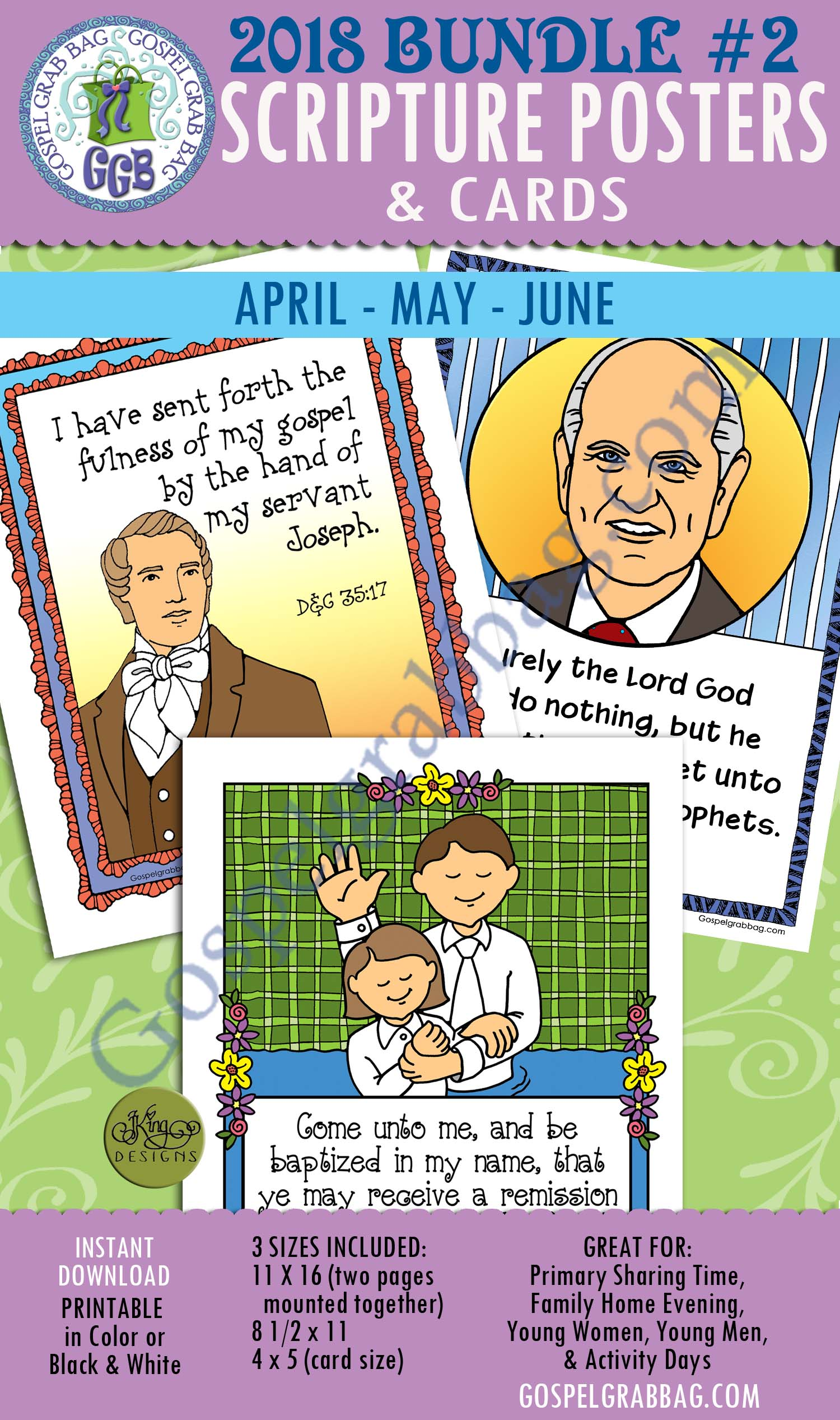 $4.00 BUNDLE #2 Scripture Posters & Cards for Sharing Time, April, May, June 2018 Sharing Time