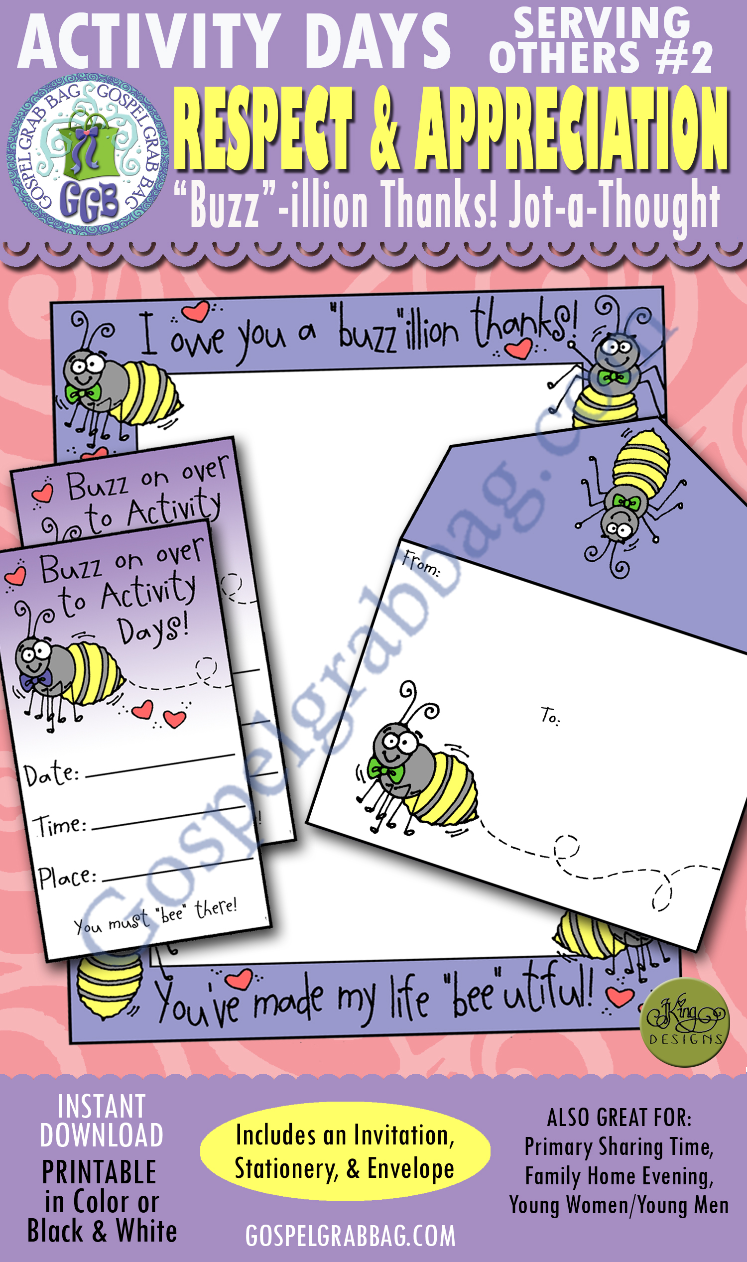 "$3.00 GRATITUDE: Activity Days SERVING OTHERS Goal 2 Invitation, Activity: I Will Express Appreciation - ""Buzz""illion Thanks jot-a-note stationery and envelope, & invitation"