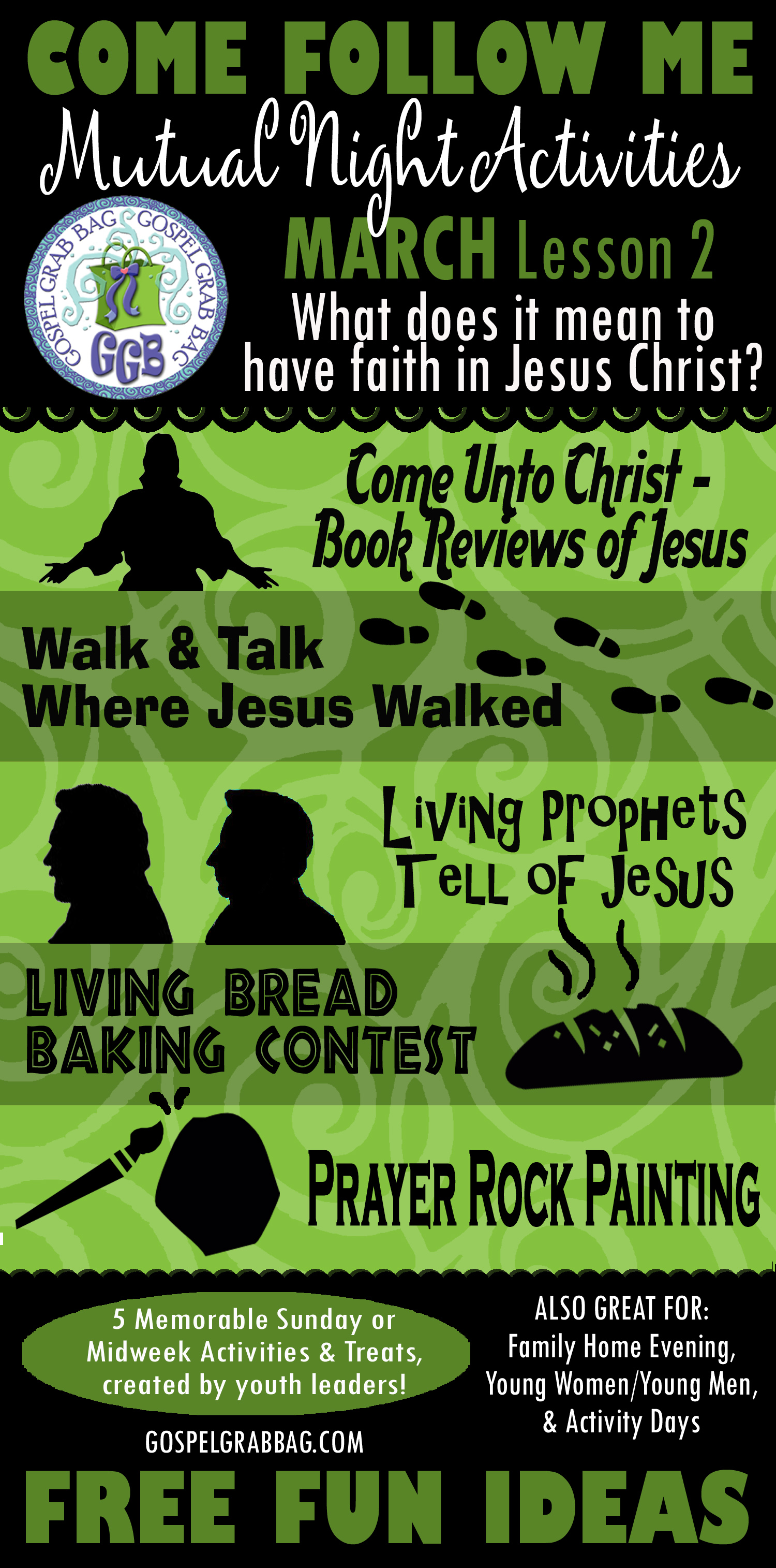 """MUTUAL NIGHT IDEAS: March Lesson #2 Come Follow Me Lesson Activities - Theme: """"What does it mean to have faith in Jesus Christ?"""", GospelGrabBag.com"""