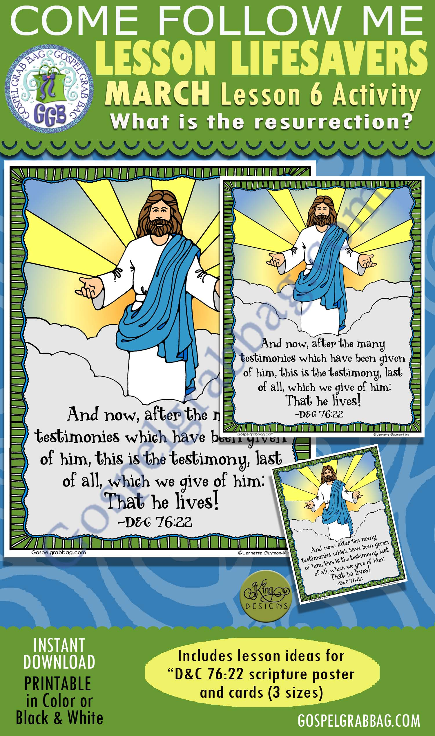 """$2.00 MARCH Lesson 6 Come Follow Me """"What is the resurrection?"""" ACTIVITY: D&C 76:22 He lives!, Scritpure Poster / Cards"""