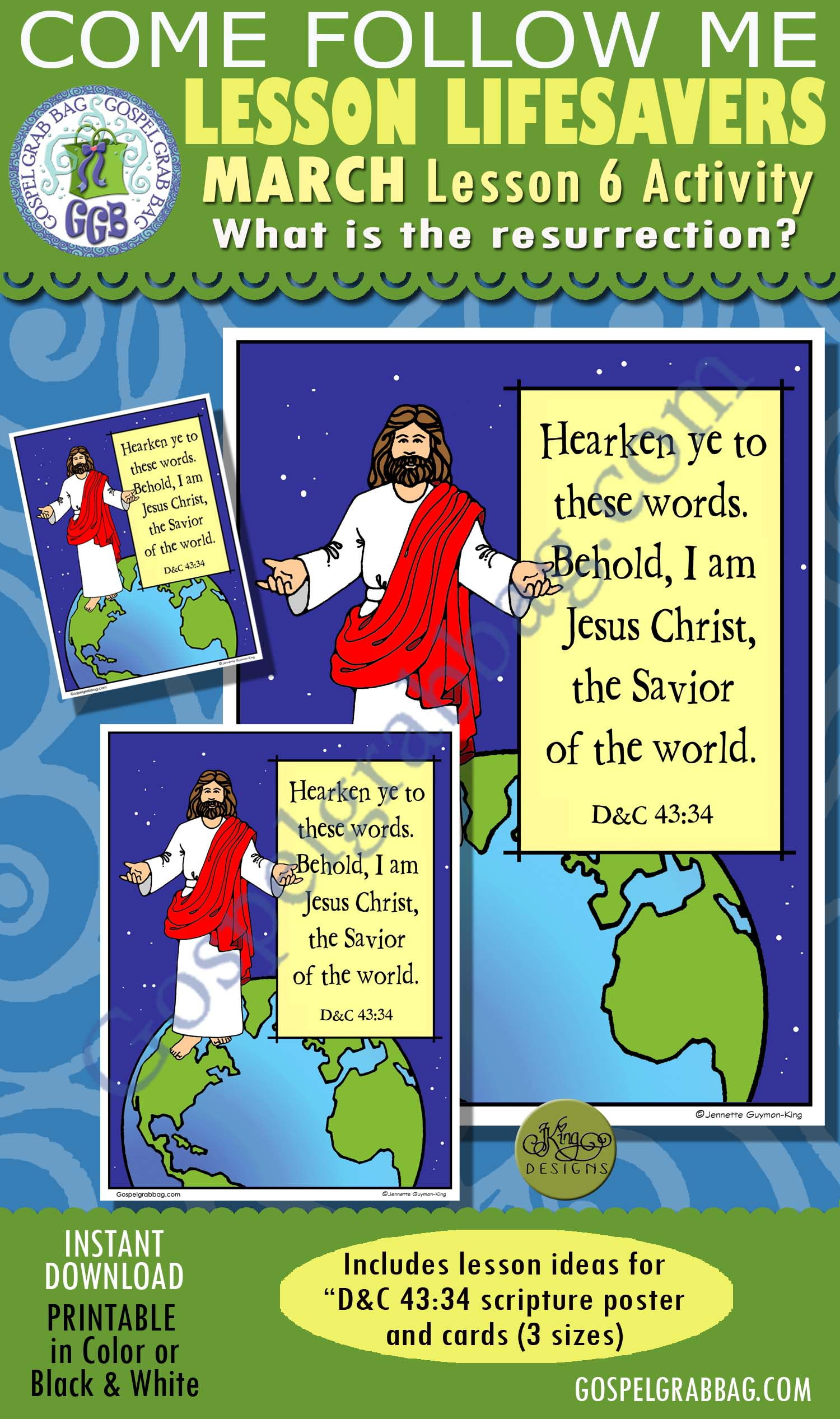 """$2.00 MARCH Lesson 6 Come Follow Me """"What is the resurrection?"""" ACTIVITY: D&C 43:34 Savior of the world!, Scritpure Poster / Cards"""