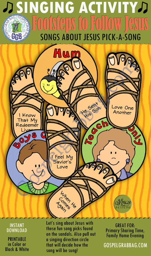 $3.00 FOOTSTEPS TO FOLLOW JESUS Songs of Jesus pick-a-song: Primary Music Singing Time Activities to Motivate Children to Sing, download from GospelGrabBag.com