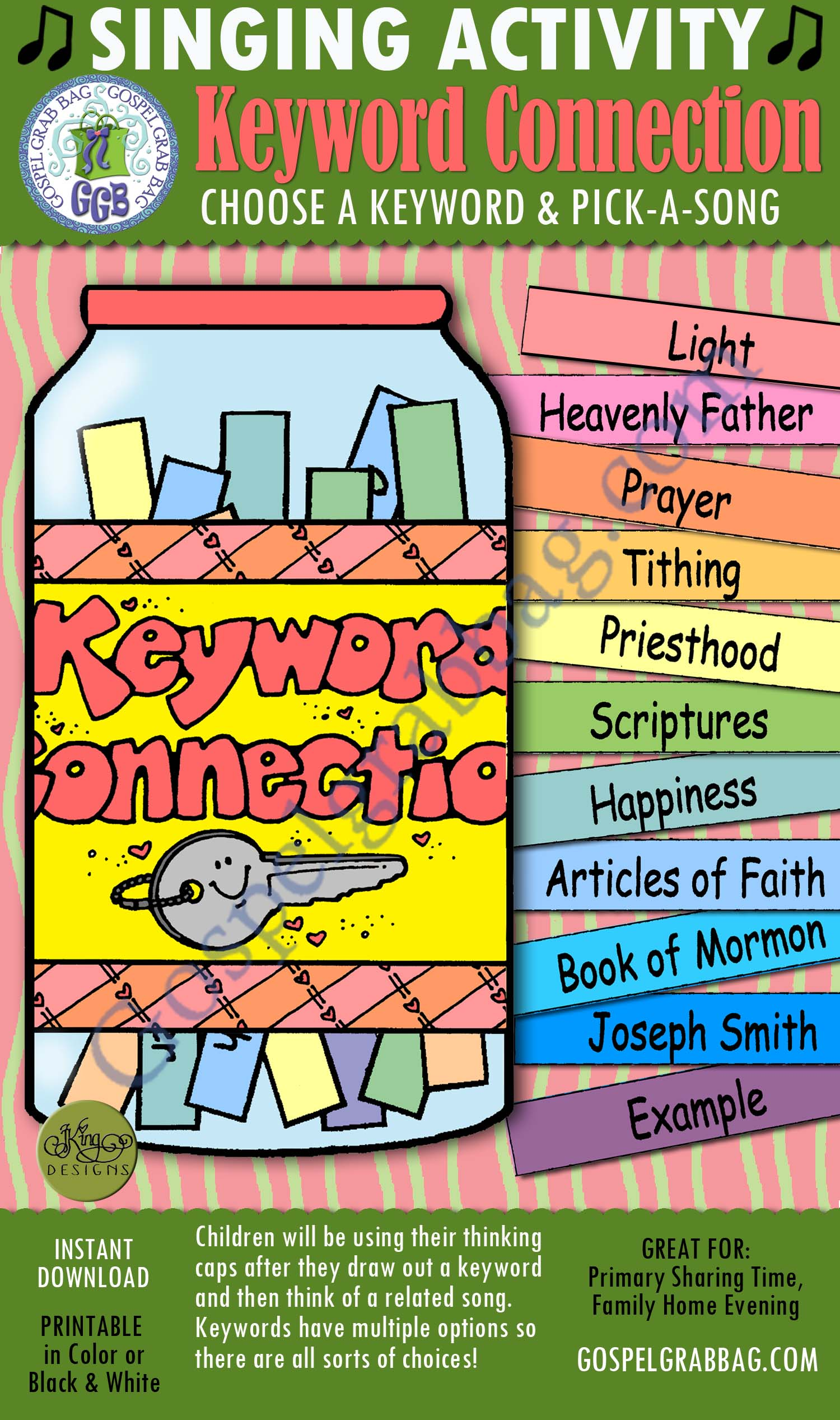 $3.00 KEYWORD CONNECTION pick-a-song to match keyword: Primary Music Singing Time Activities to Motivate Children to Sing, download from GospelGrabBag.com