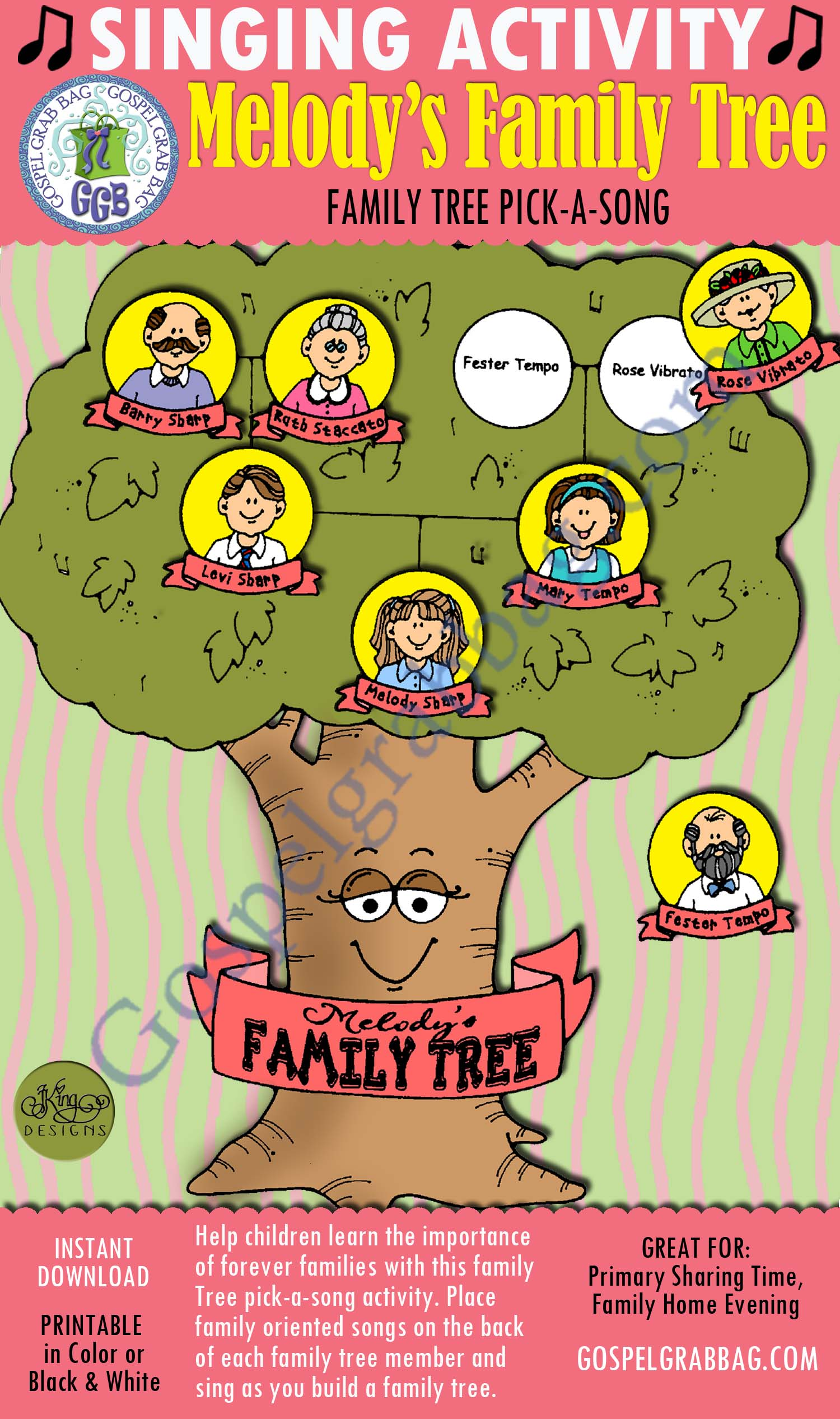 $3.00 MELODY'S FAMILY TREE pick-a-song: Primary Music Singing Time Activities to Motivate Children to Sing, download from GospelGrabBag.com