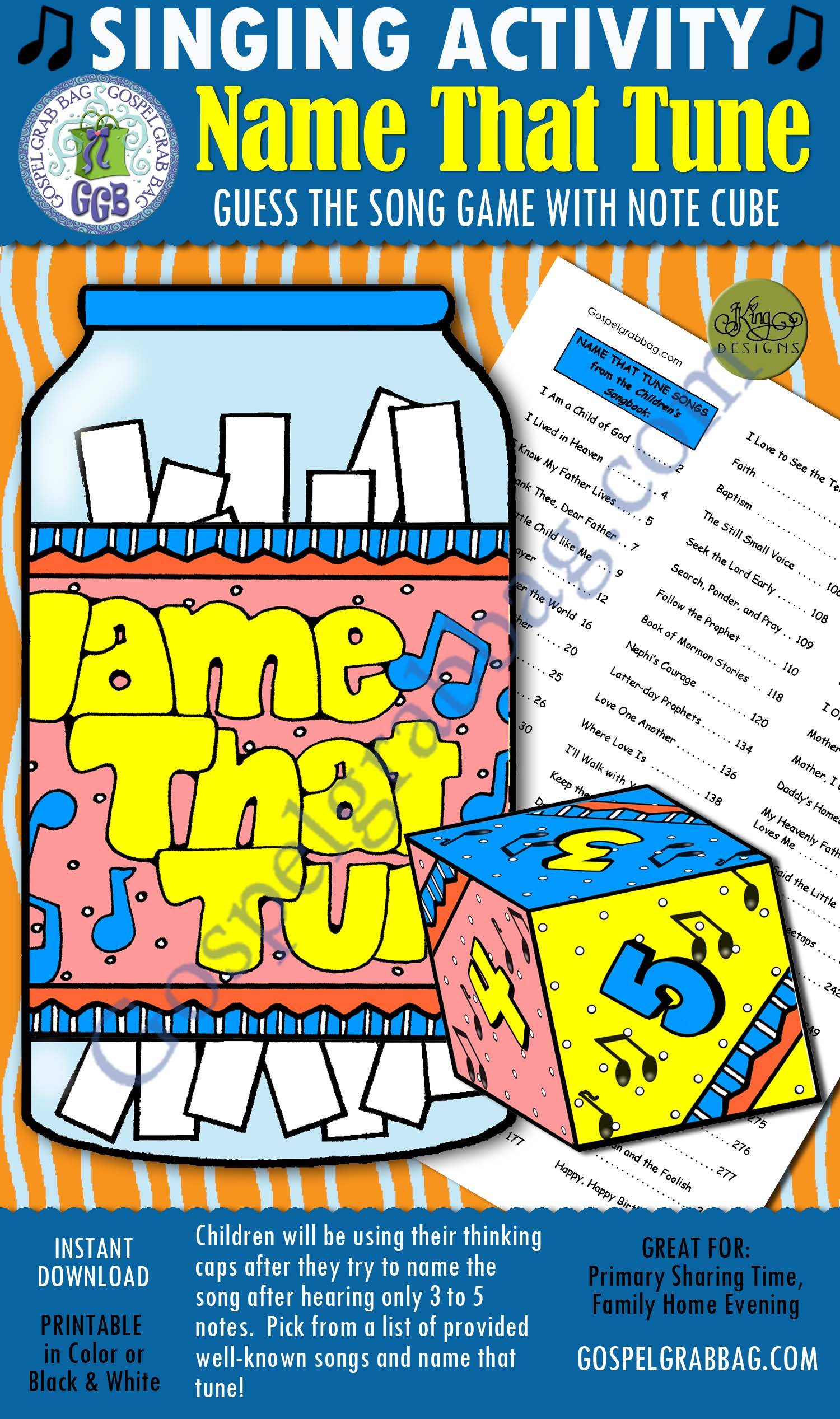 $3.00 NAME THAT TUNE Guess the Song Game with note cube: Primary Music Singing Time Activities to Motivate Children to Sing, download from GospelGrabBag.com