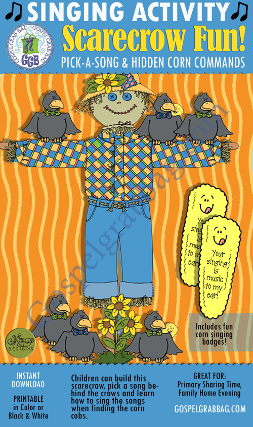 $3.00 BUILD A SCARECROW pick-a-song & singing meter, with singing award: Primary Music Singing Time Activities to Motivate Children to Sing, download from GospelGrabBag.com