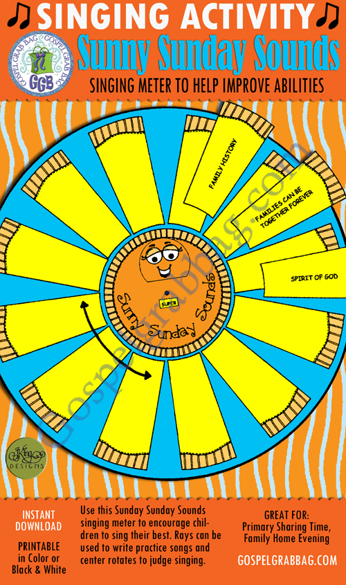 $3.00 SUNNY SUNDAY SOUNDS pick-a-song & singing meter to help improve abilities: Primary Music Singing Time Activities to Motivate Children to Sing, download from GospelGrabBag.com